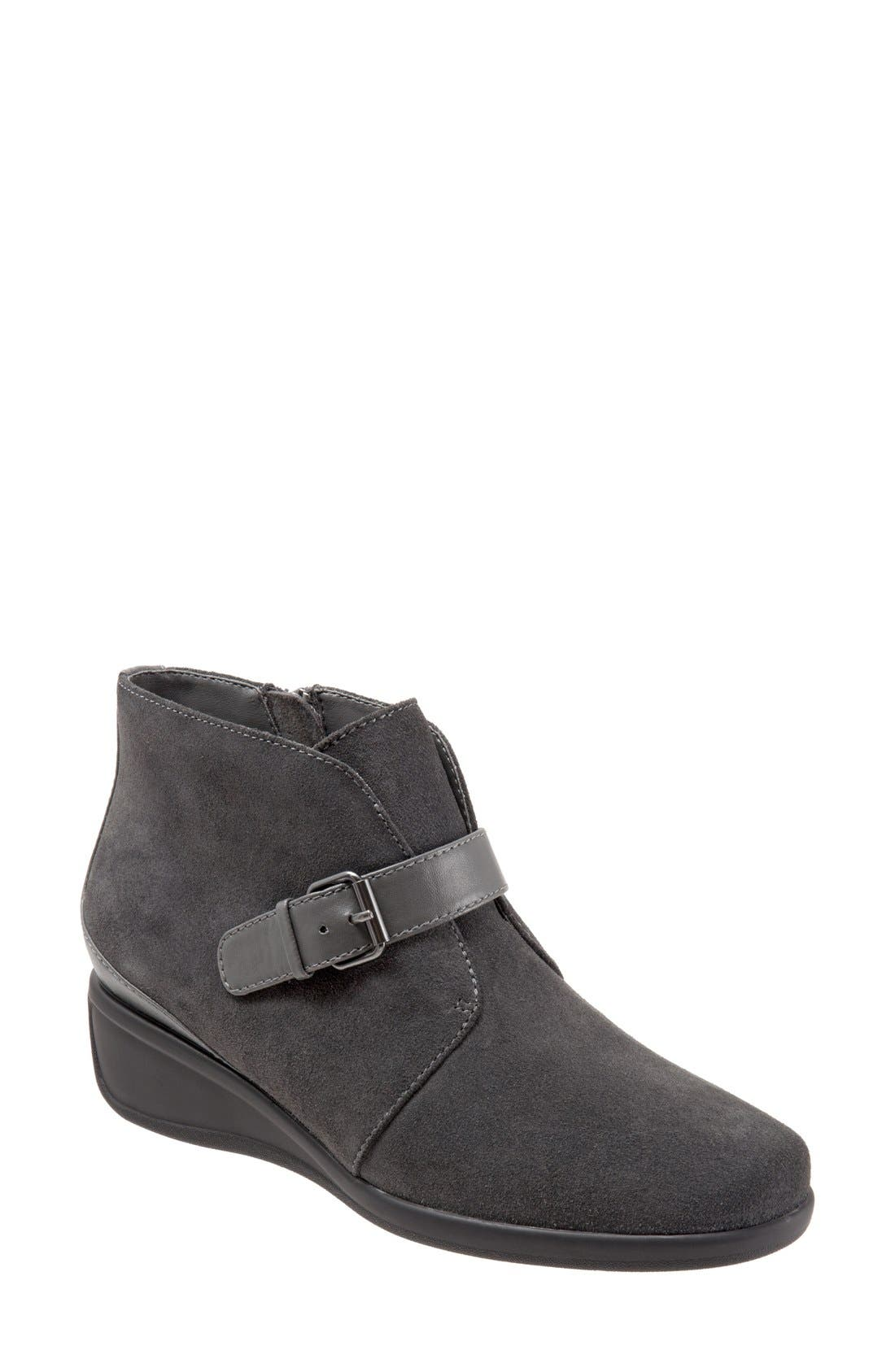 'Mindy' Wedge Bootie,                             Main thumbnail 1, color,                             DARK GREY SUEDE