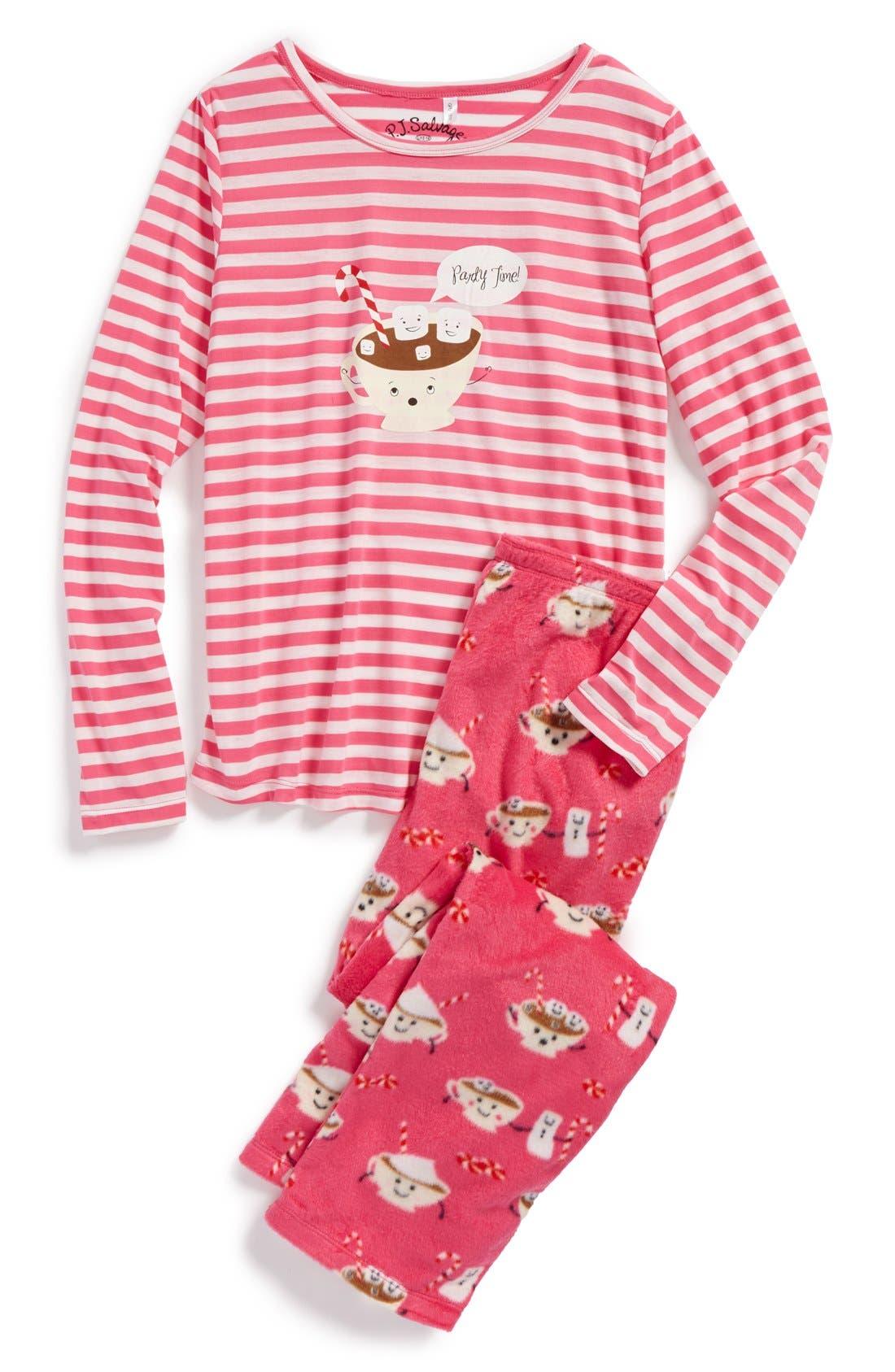 'Hot Cocoa' Two-Piece Pajamas, Main, color, 675