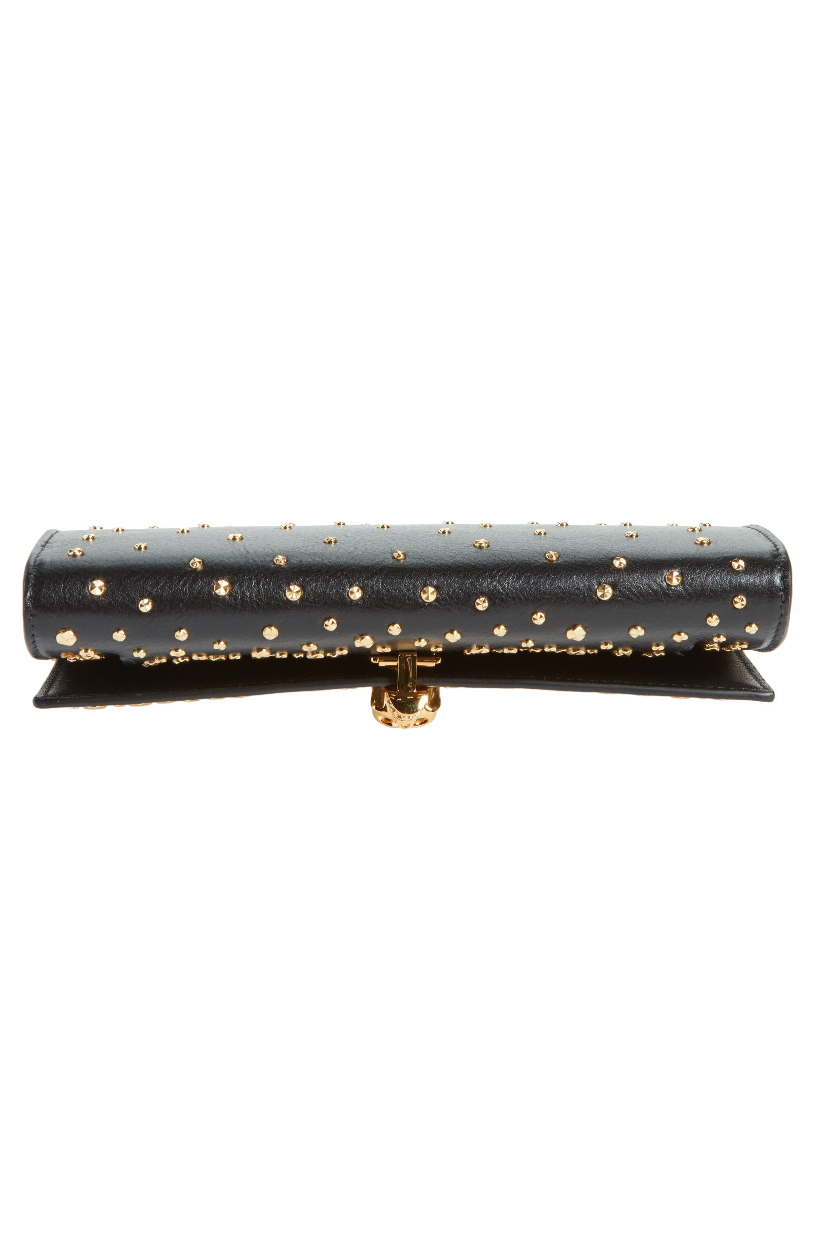 Studded Skull Leather Wallet on a Chain,                             Alternate thumbnail 6, color,                             BLACK