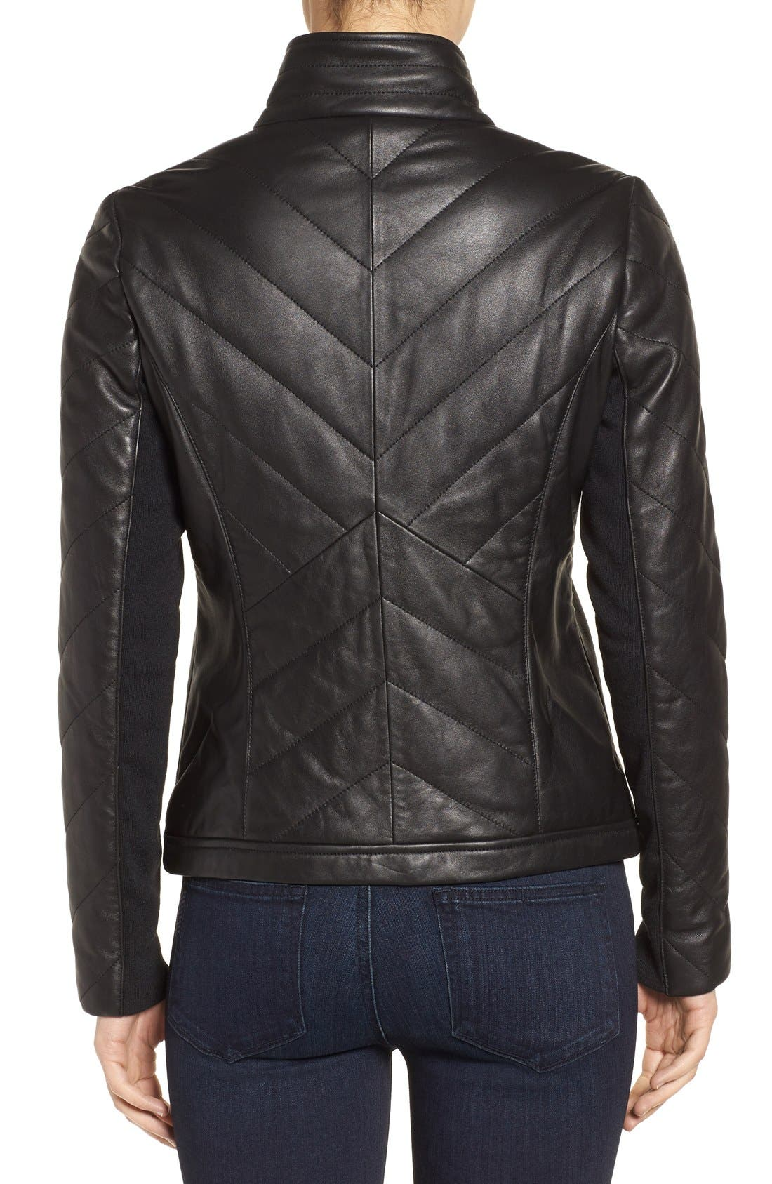 Badgley Mischka Eloise Quilted Leather Moto Jacket,                             Alternate thumbnail 4, color,                             001