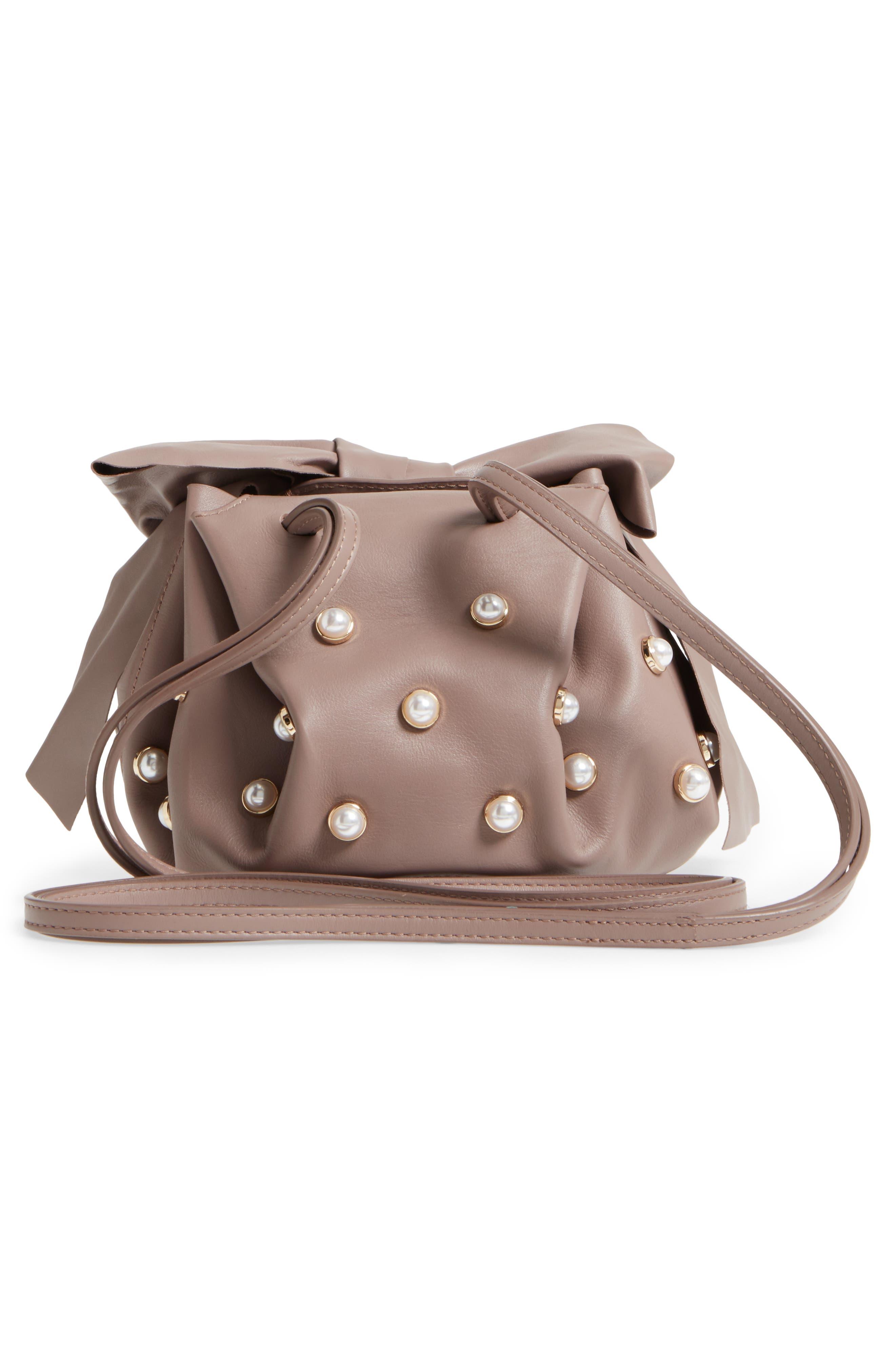 Soirée Imitation Pearl Lady Leather Crossbody Bag,                             Alternate thumbnail 3, color,                             530