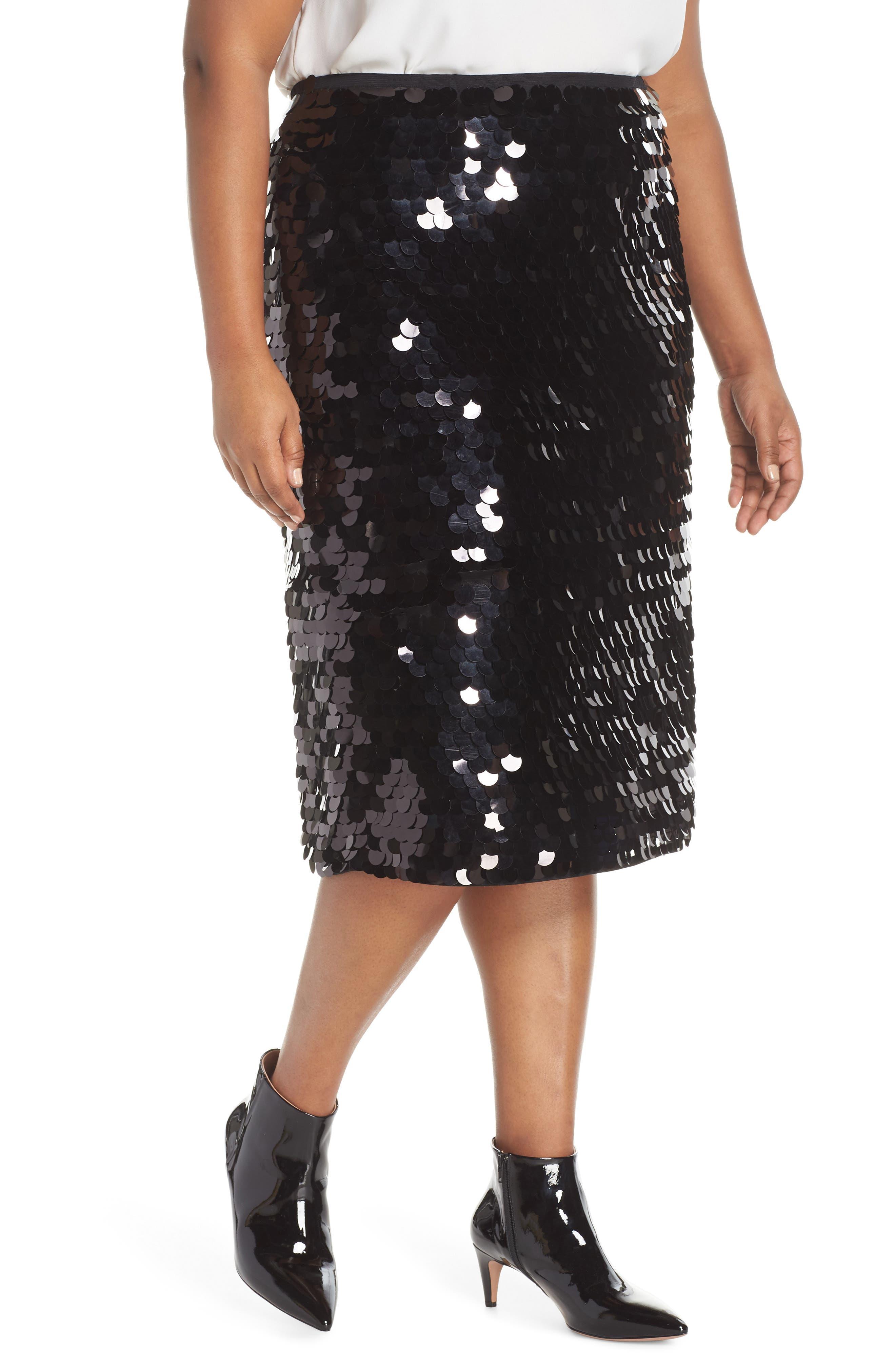 HALOGEN<SUP>®</SUP> Paillette Pencil Skirt, Main, color, 001