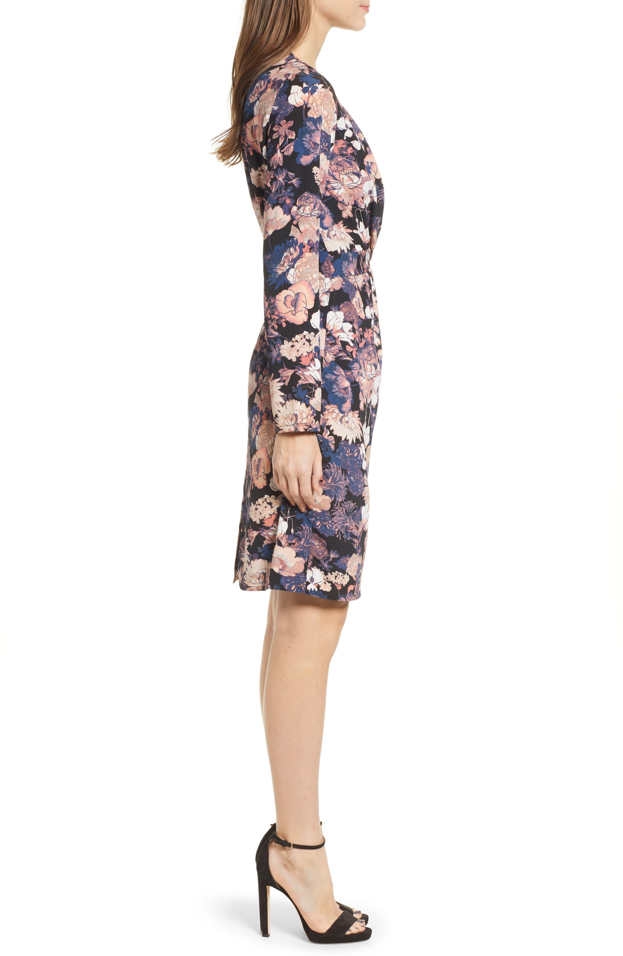 VERO MODA,                             Marlene Floral Drape Dress,                             Alternate thumbnail 4, color,                             BLACK PRINT