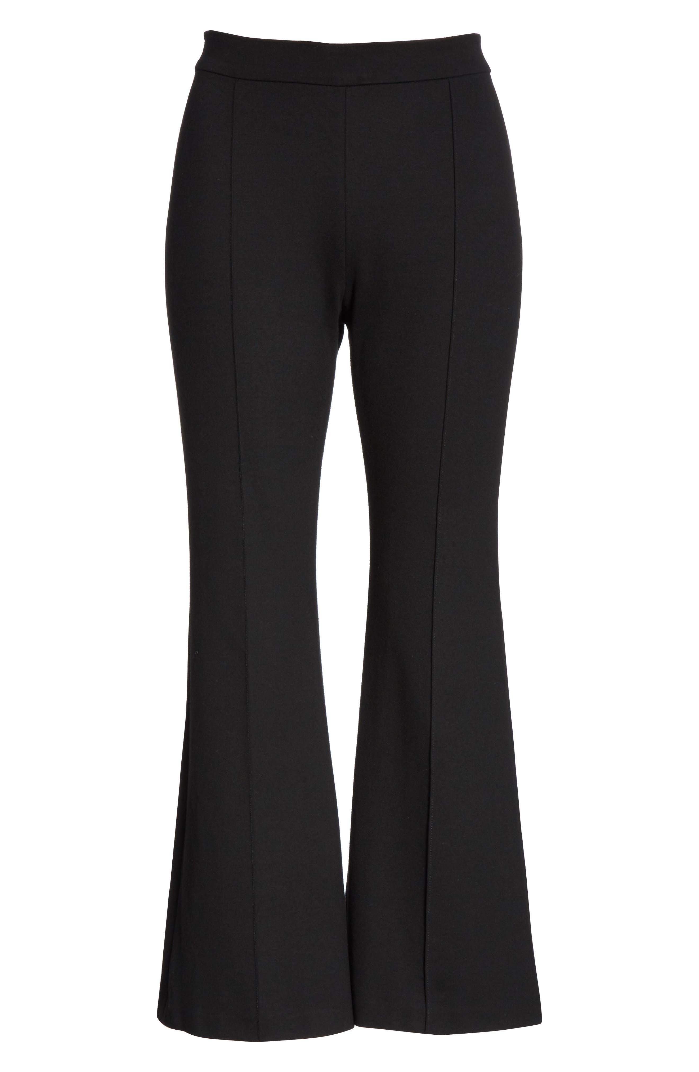 Crop Flare Jersey Pants,                             Alternate thumbnail 6, color,                             BLACK