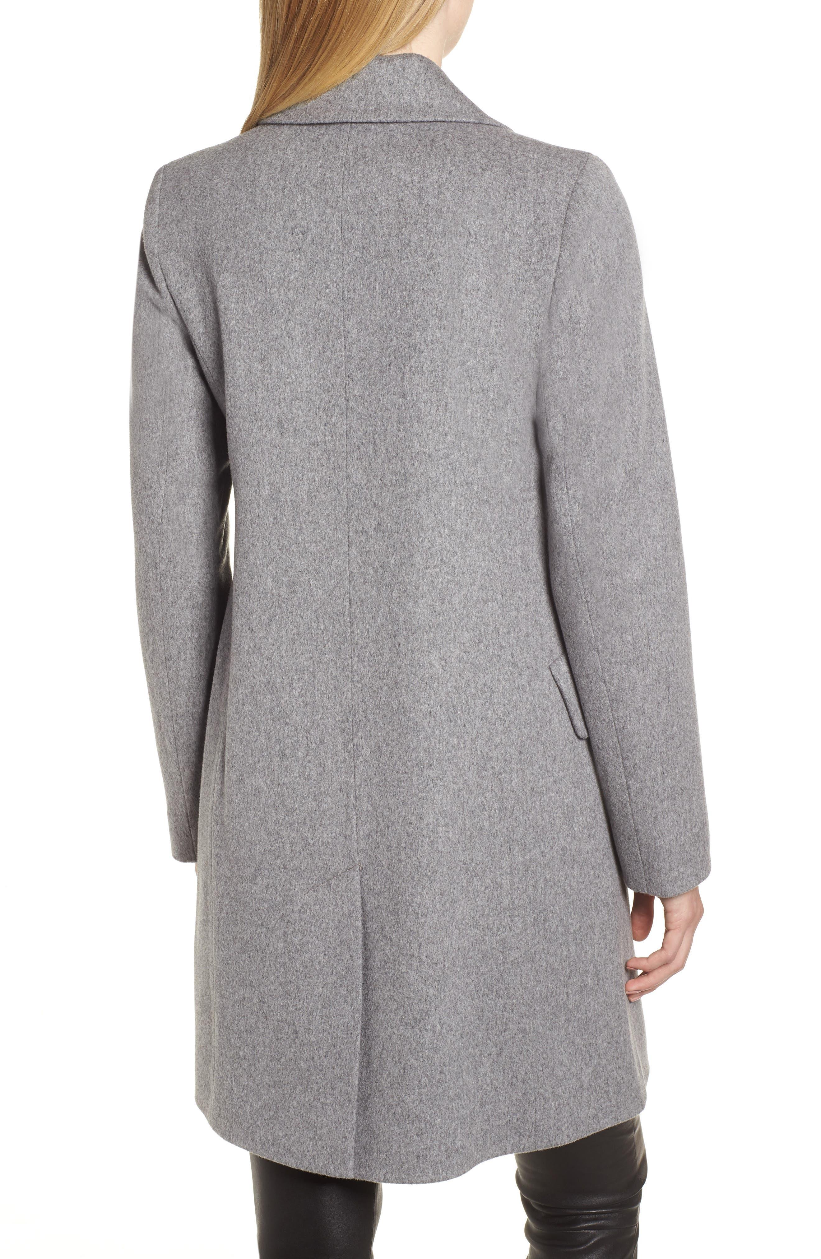 Notch Collar Wool Coat,                             Alternate thumbnail 2, color,                             GREY HEATHER