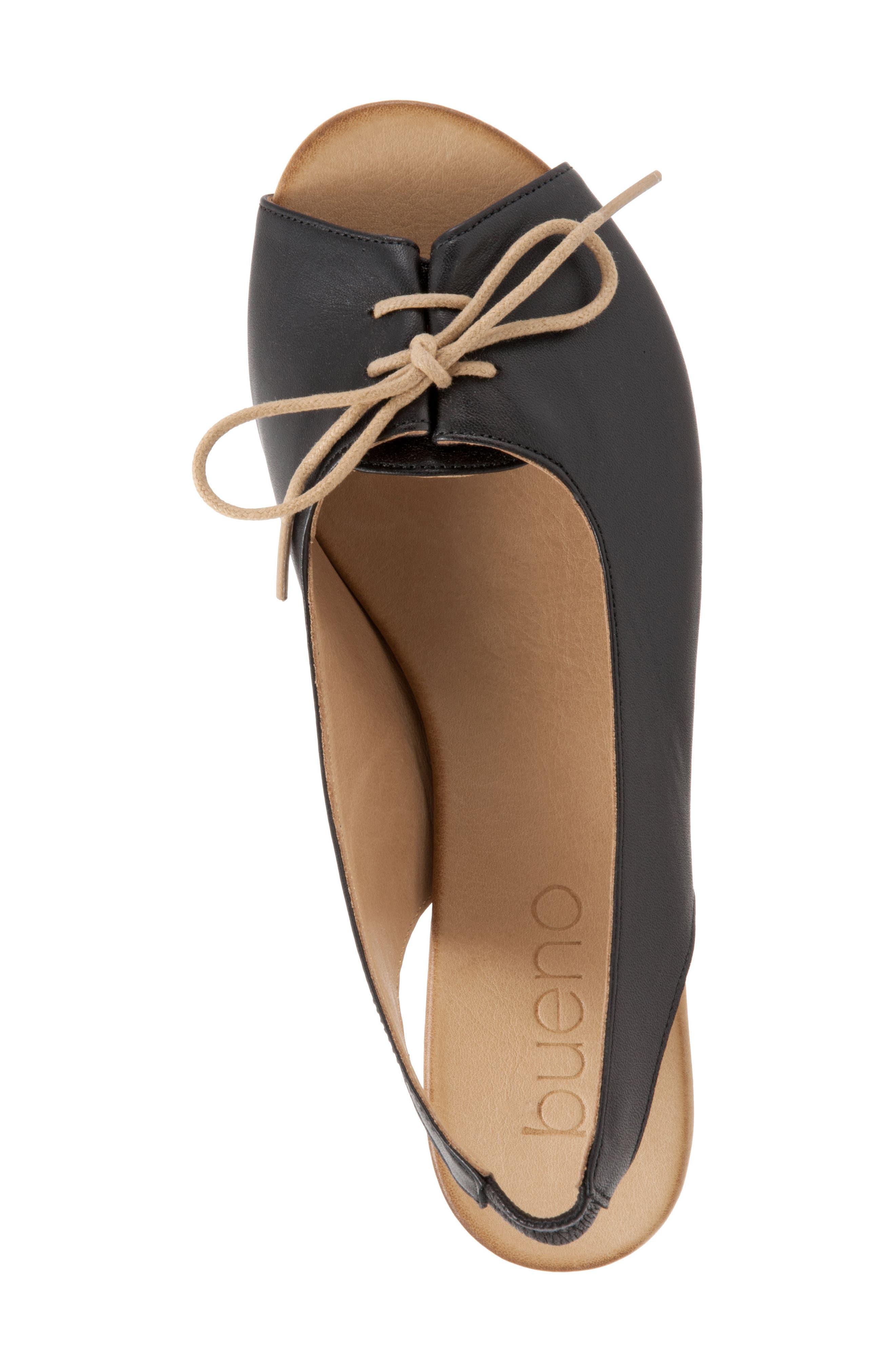 Keely Slingback Tie Sandal,                             Alternate thumbnail 5, color,                             BLACK LEATHER