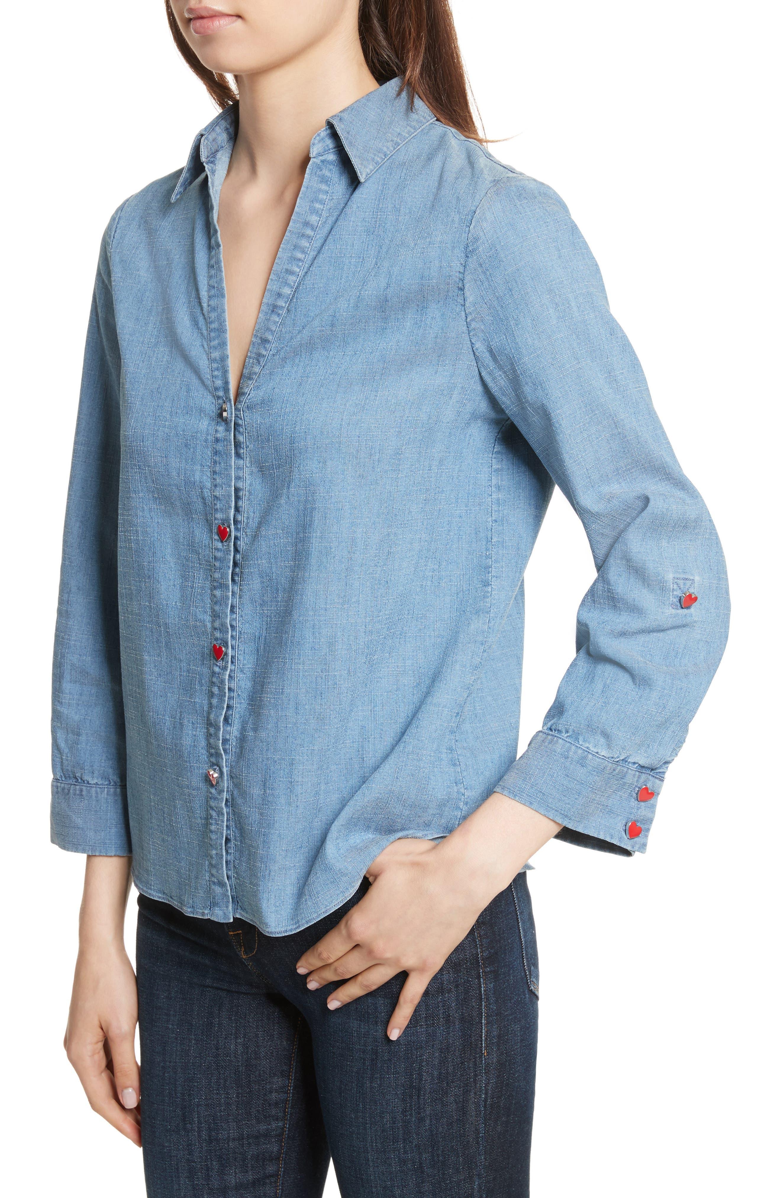 Eloise Appliqué Roll-Cuff Shirt,                             Alternate thumbnail 4, color,                             484