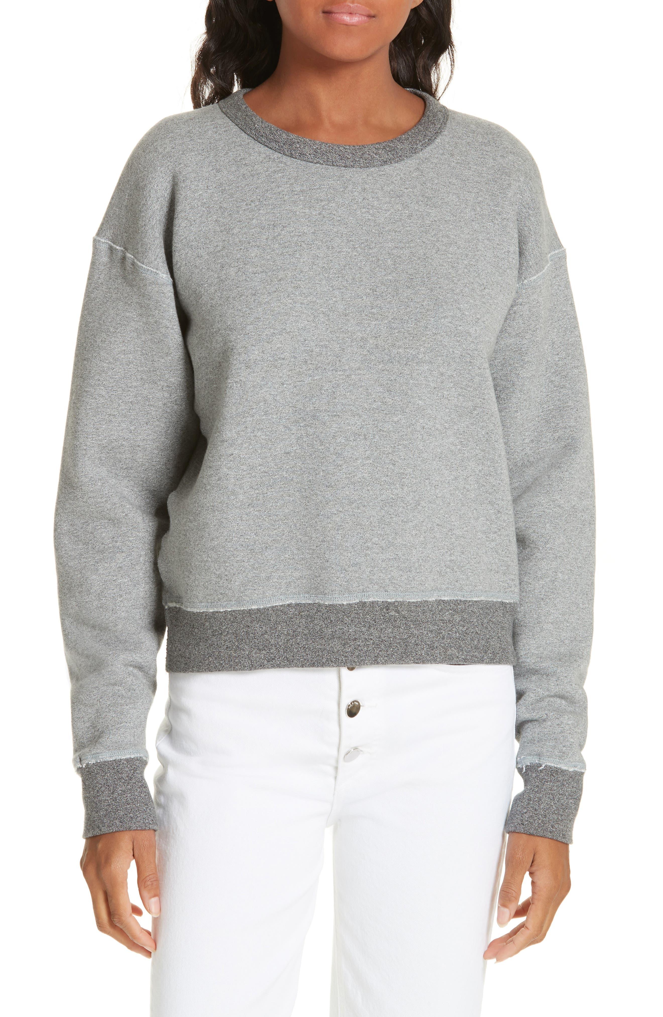rag & bone Best Sweatshirt,                             Main thumbnail 1, color,                             HEATHER GREY