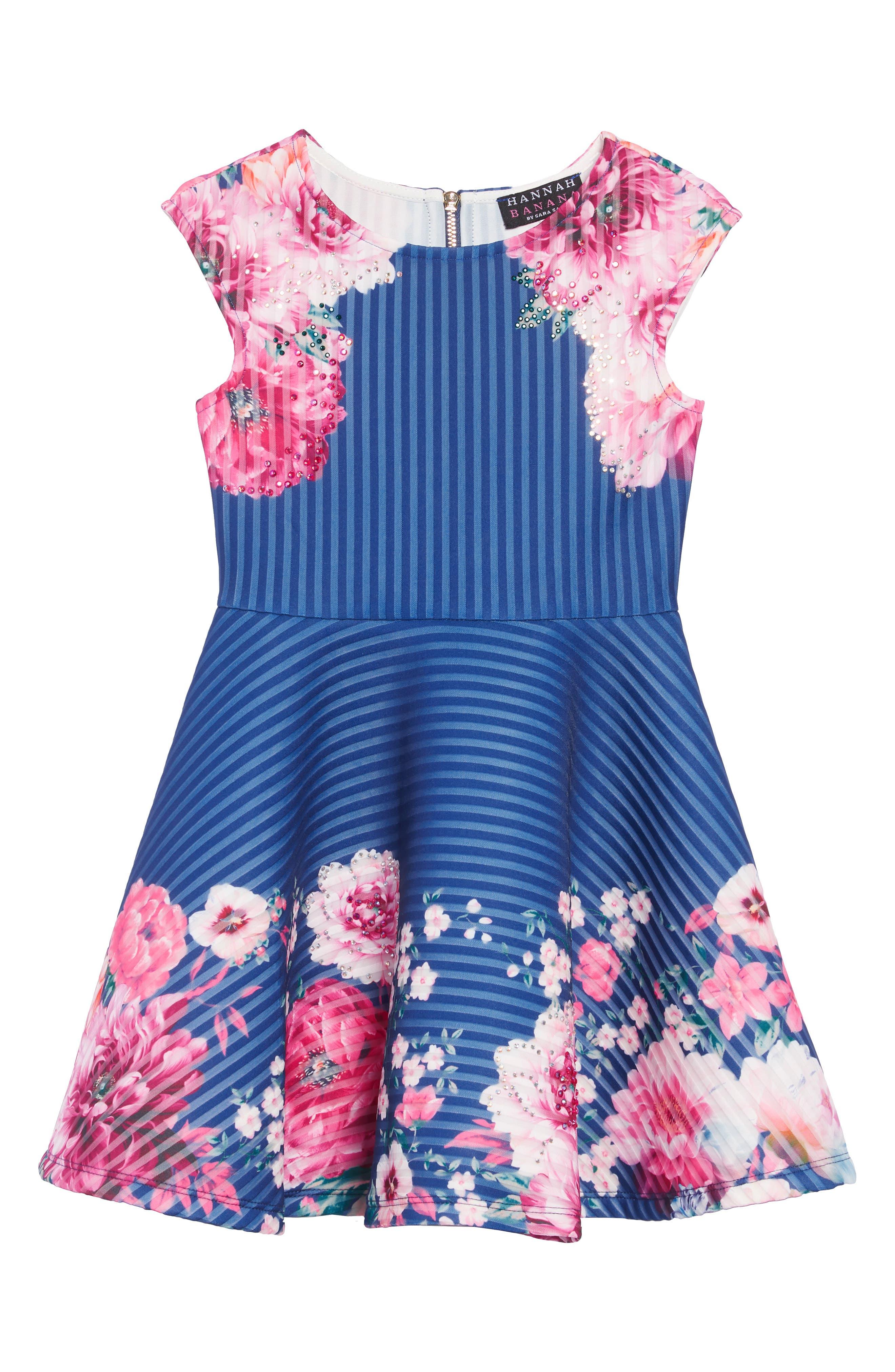 Stripe Scuba Dress,                             Main thumbnail 1, color,                             BLUE MULTI
