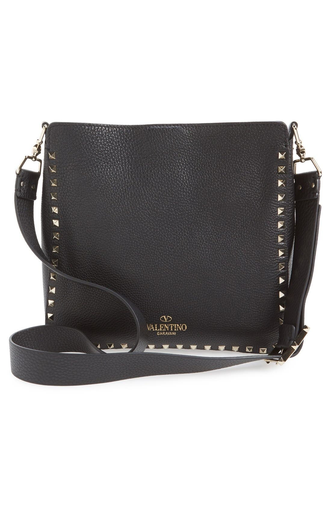 Vitello Rockstud Hobo,                             Alternate thumbnail 8, color,                             NERO