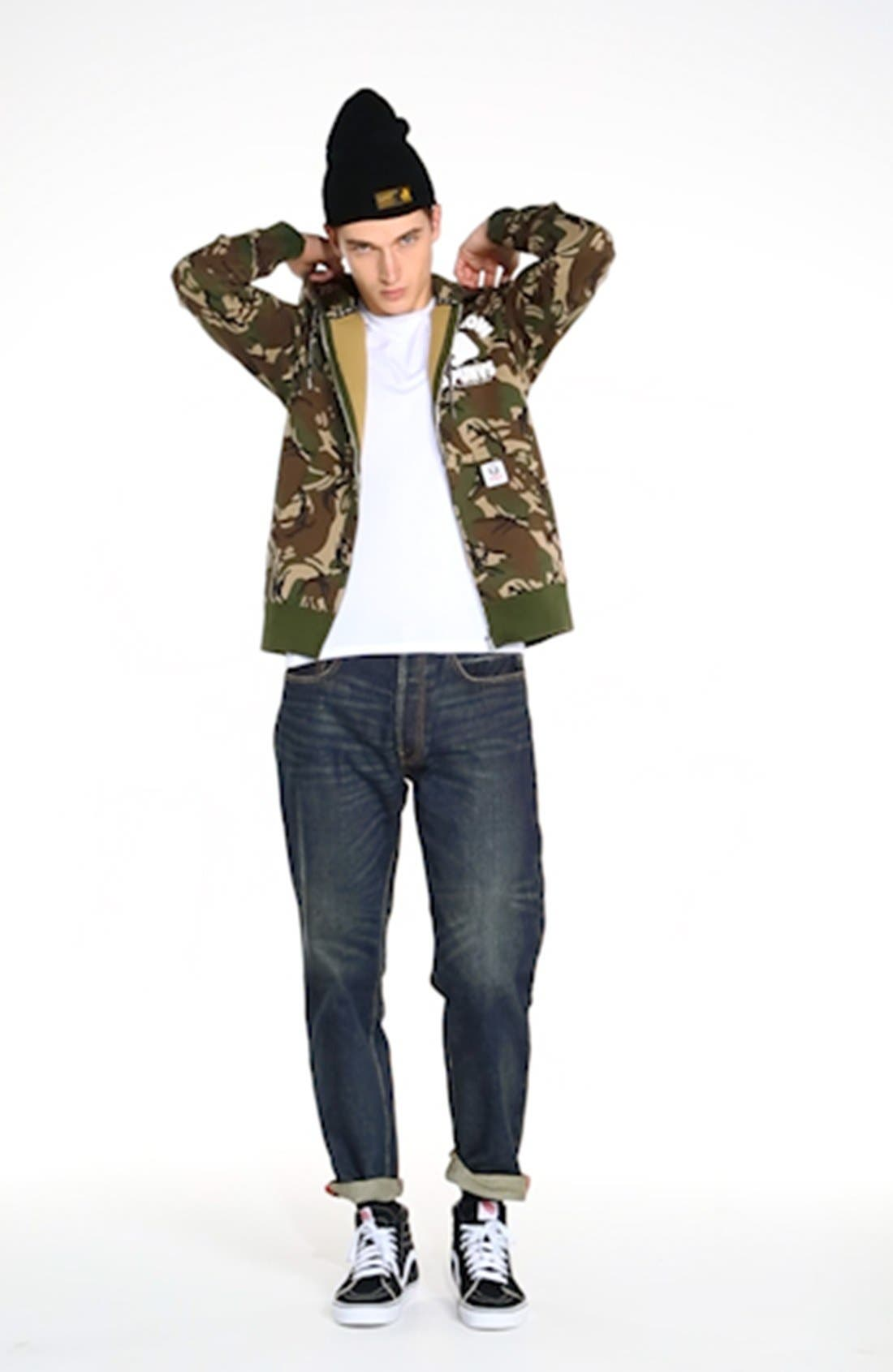 AAPE BY A BATHING APE<SUP>®</SUP>,                             Camo Full Zip Hoodie,                             Alternate thumbnail 2, color,                             340