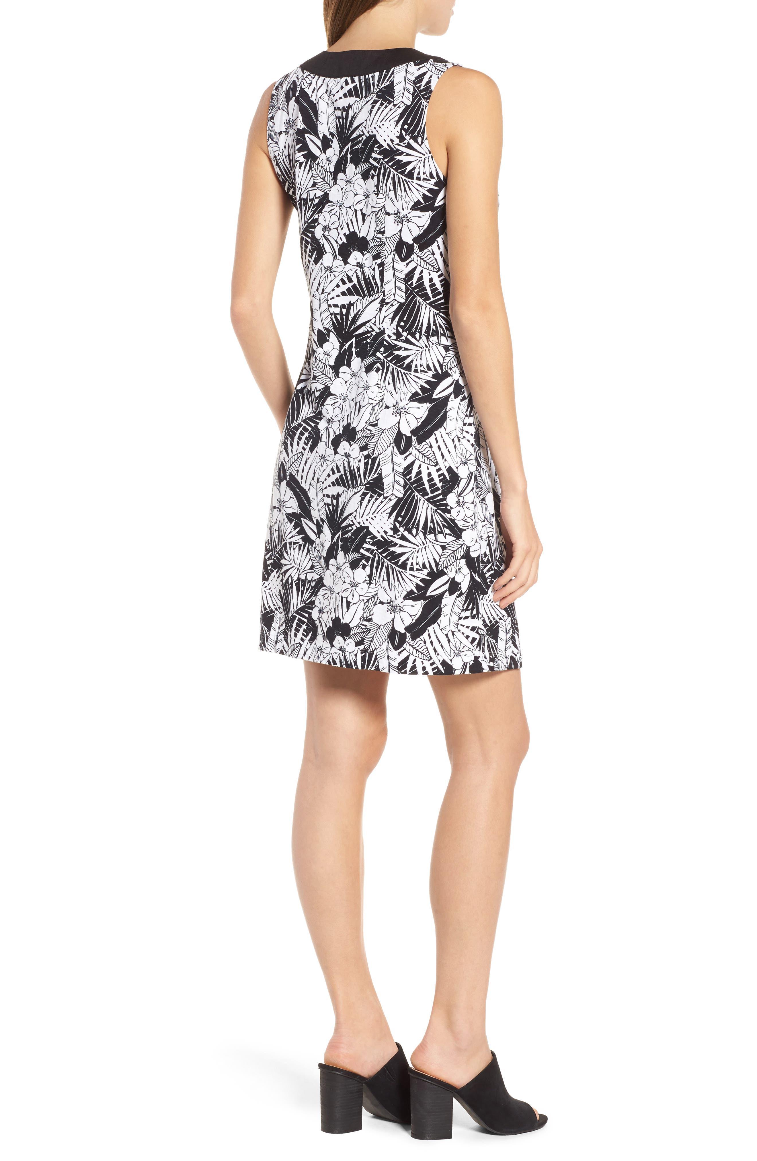 Palm Noir Sleeveless Tunic Dress,                             Alternate thumbnail 2, color,                             BLACK