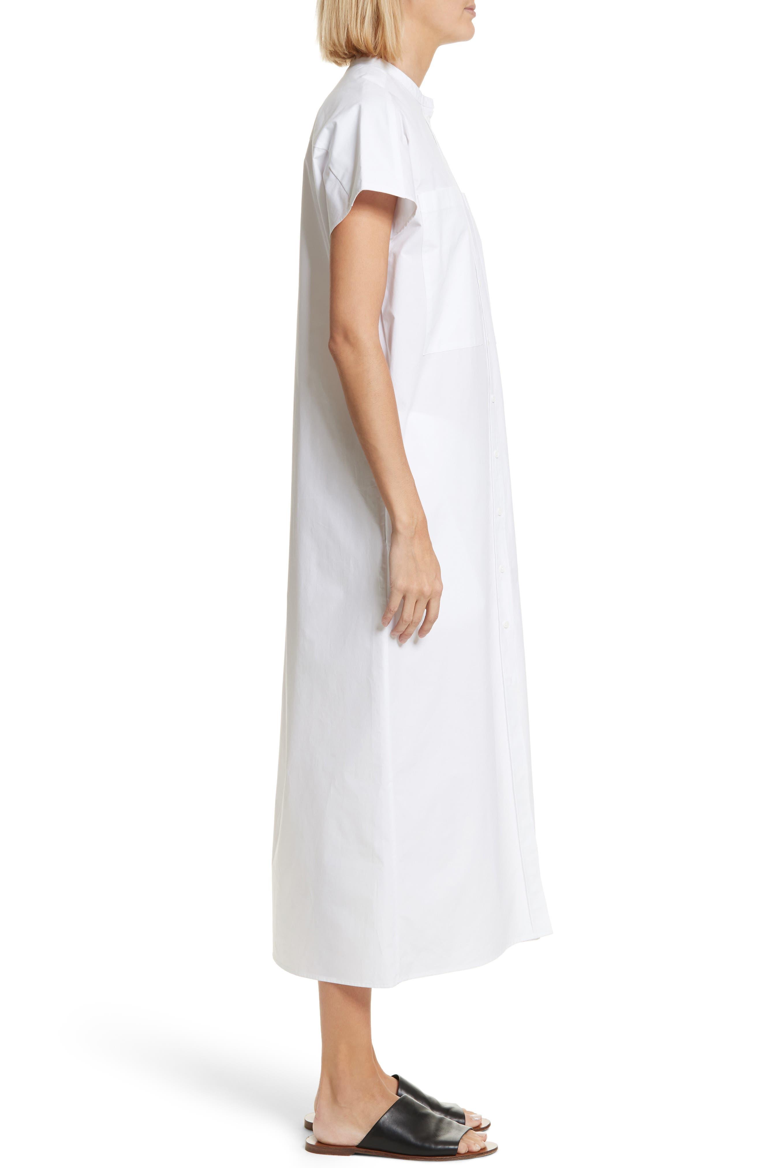 Isac Poplin Midi Dress,                             Alternate thumbnail 3, color,                             100