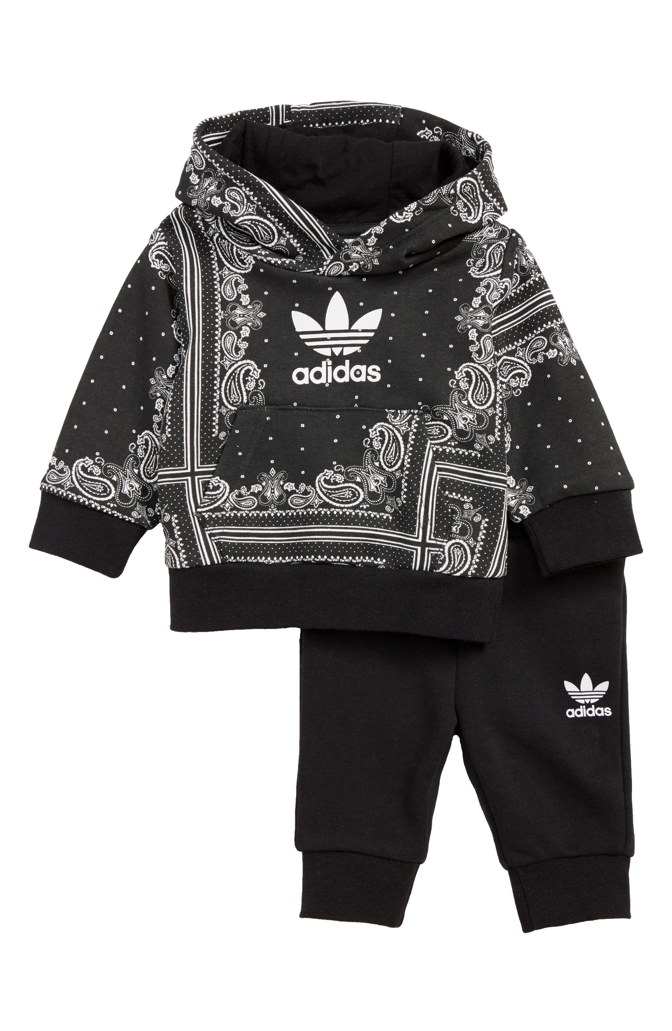 Bandana Hoodie & Sweatpants Set, Main, color, BLACK/ WHITE
