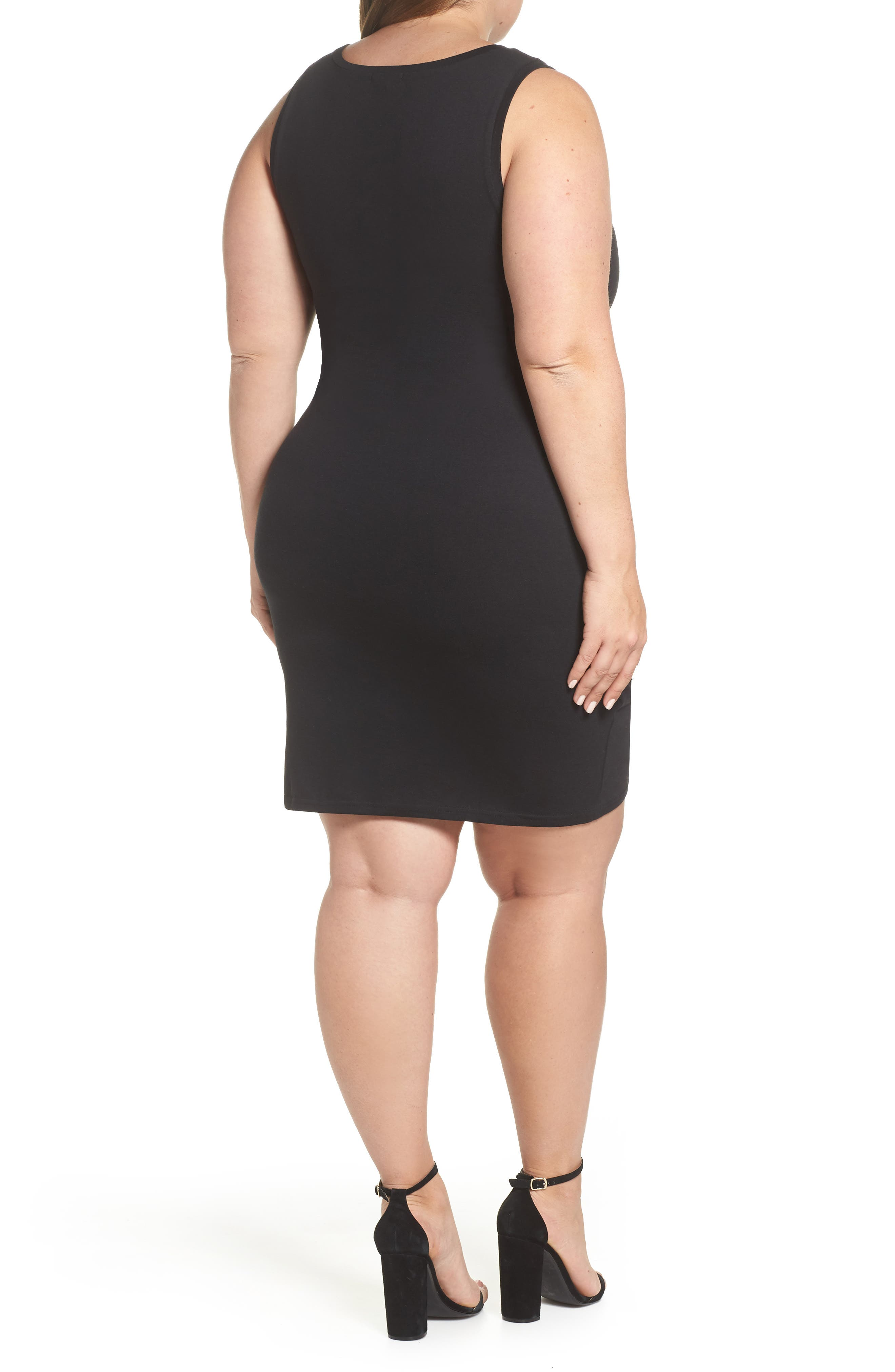 Ruched Sheath Dress,                             Alternate thumbnail 2, color,                             BLACK