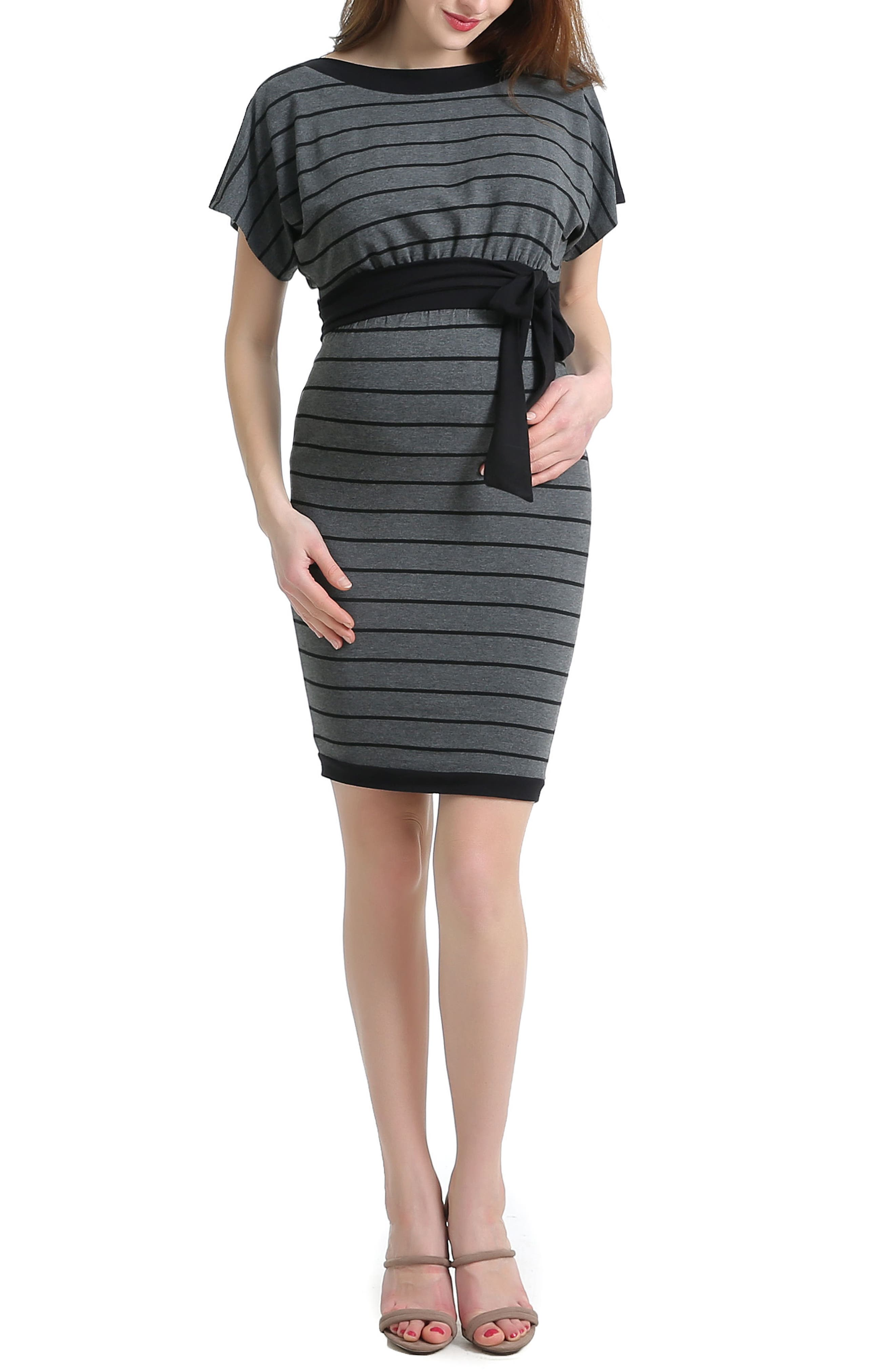 Anna Stretch Maternity Dress,                         Main,                         color, BLACK/ GRAY