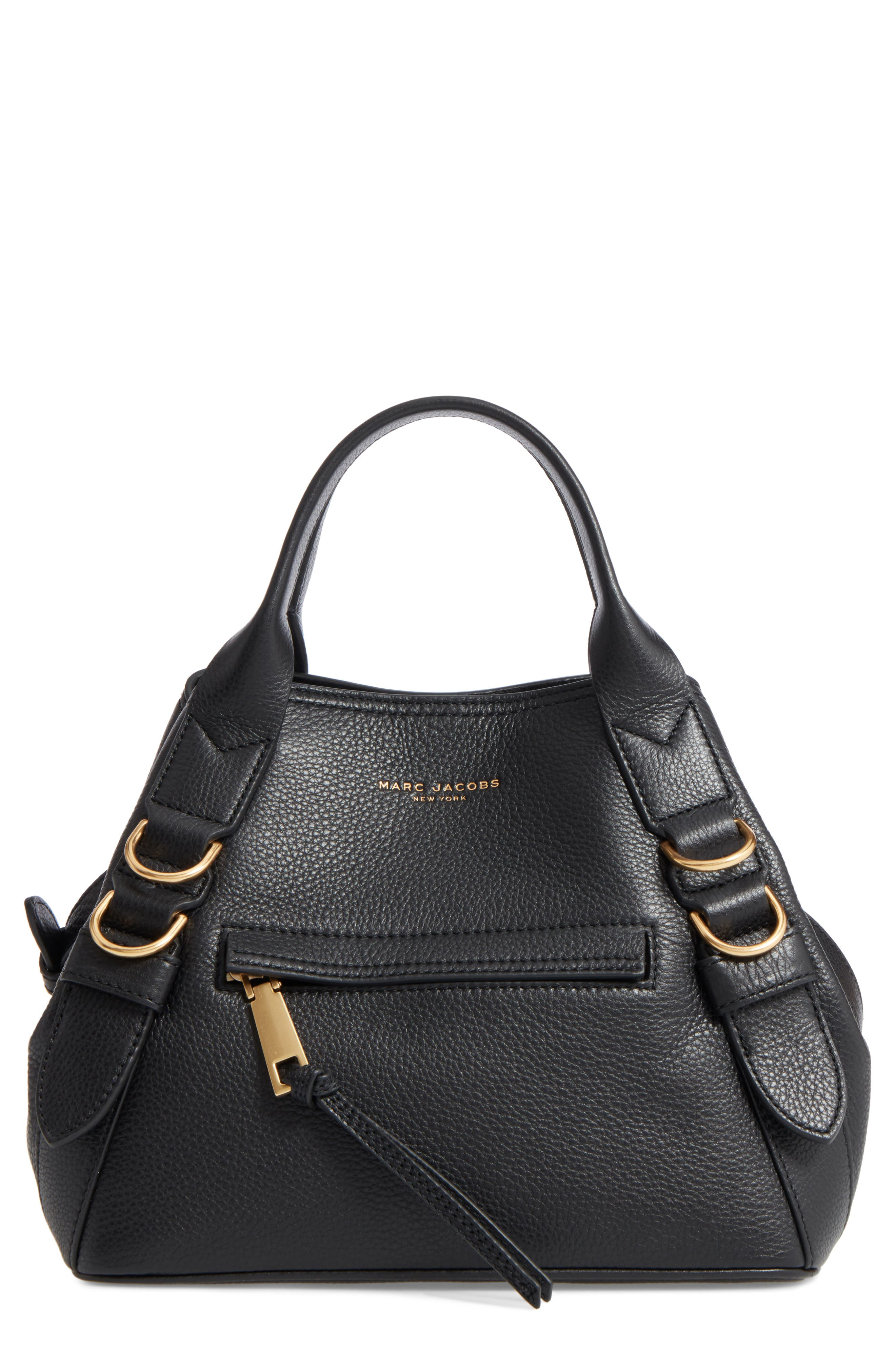 MARC JACOBS,                             The Small Anchor Leather Shoulder Bag,                             Main thumbnail 1, color,                             001