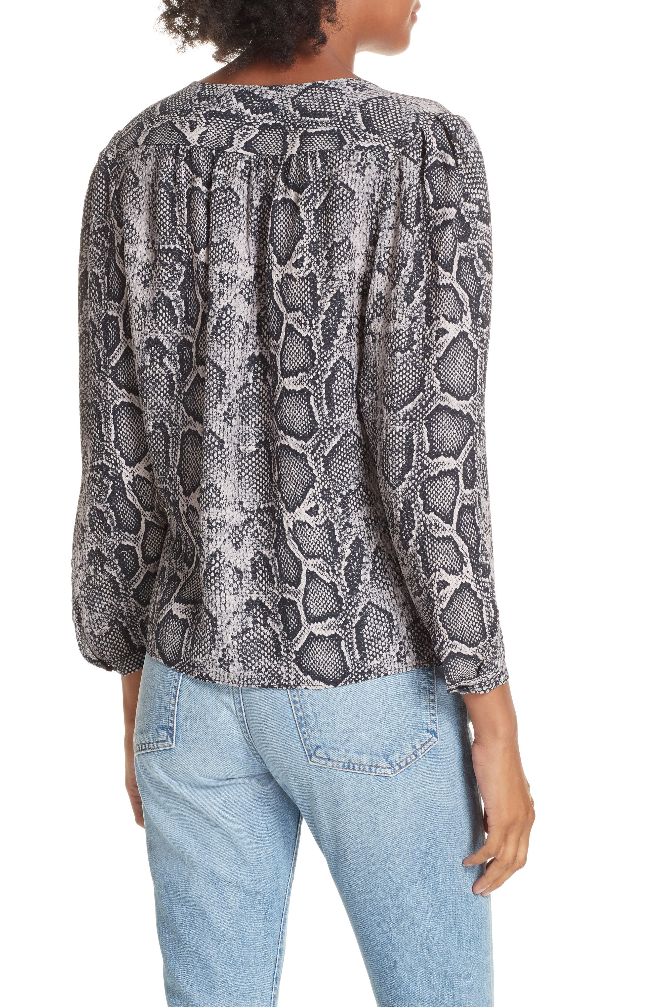 Snake Print Top,                             Alternate thumbnail 2, color,                             WASHED BLACK COMBO