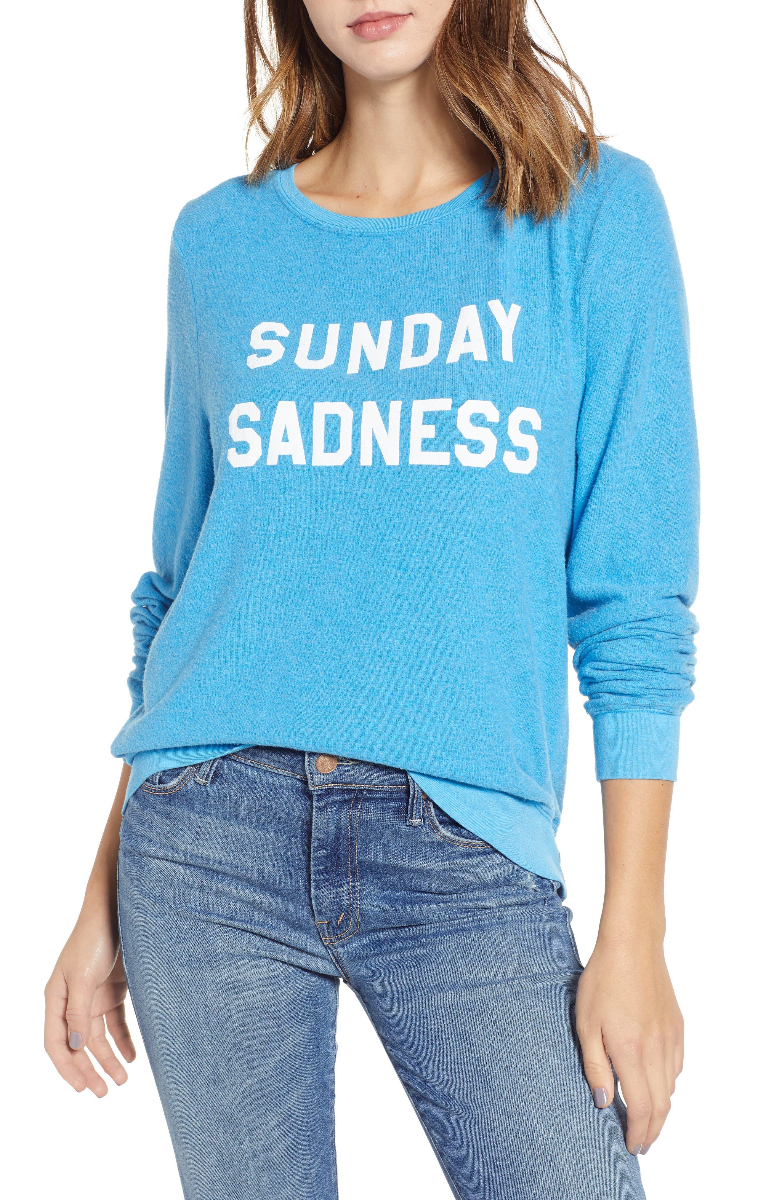 WILDFOX Baggy Beach Jumper - Sunday Sadness Pullover in Wonderland Blue