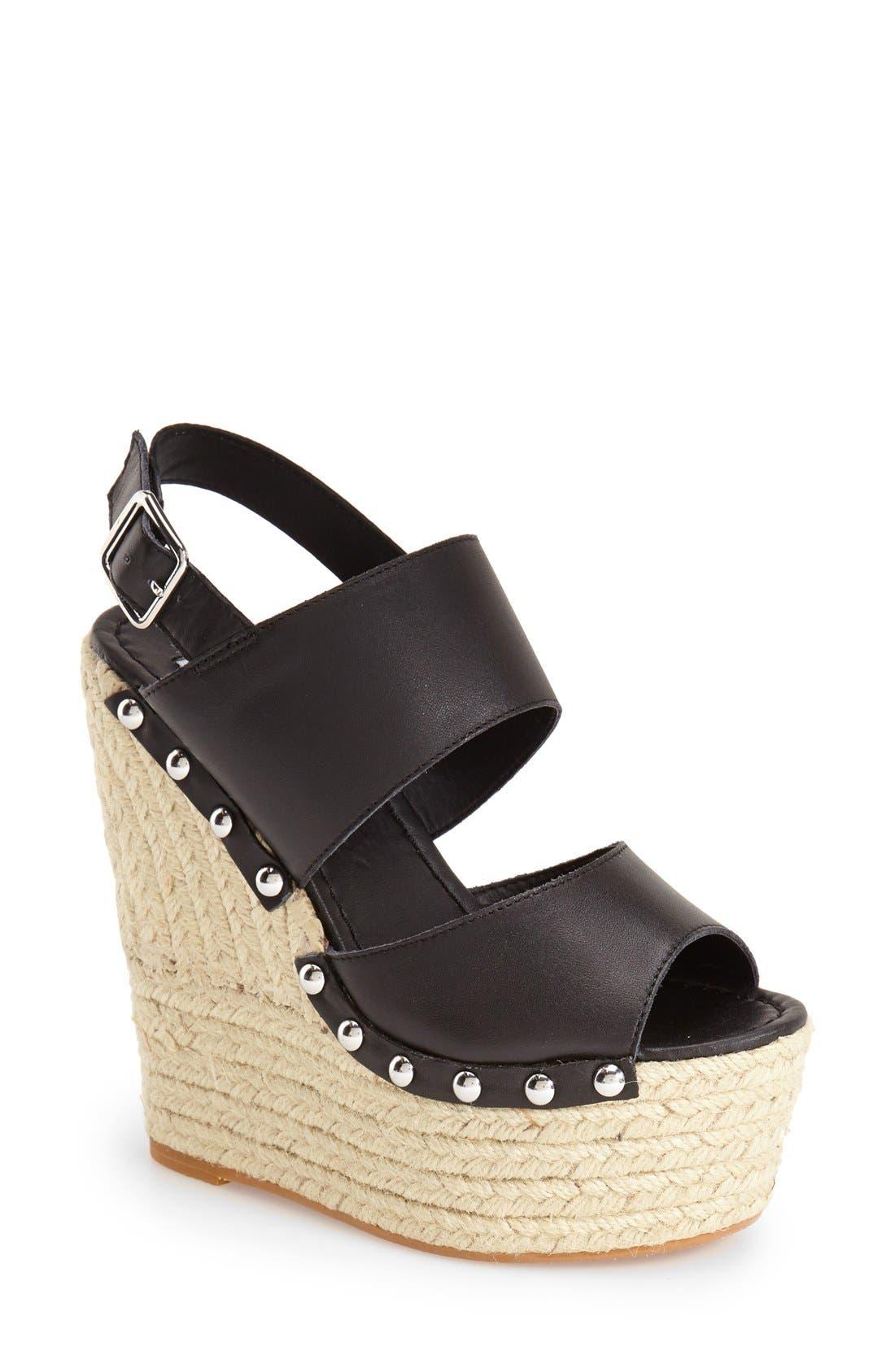 STEVE MADDEN 'Jummbo' Espadrille Wedge Sandal, Main, color, 001