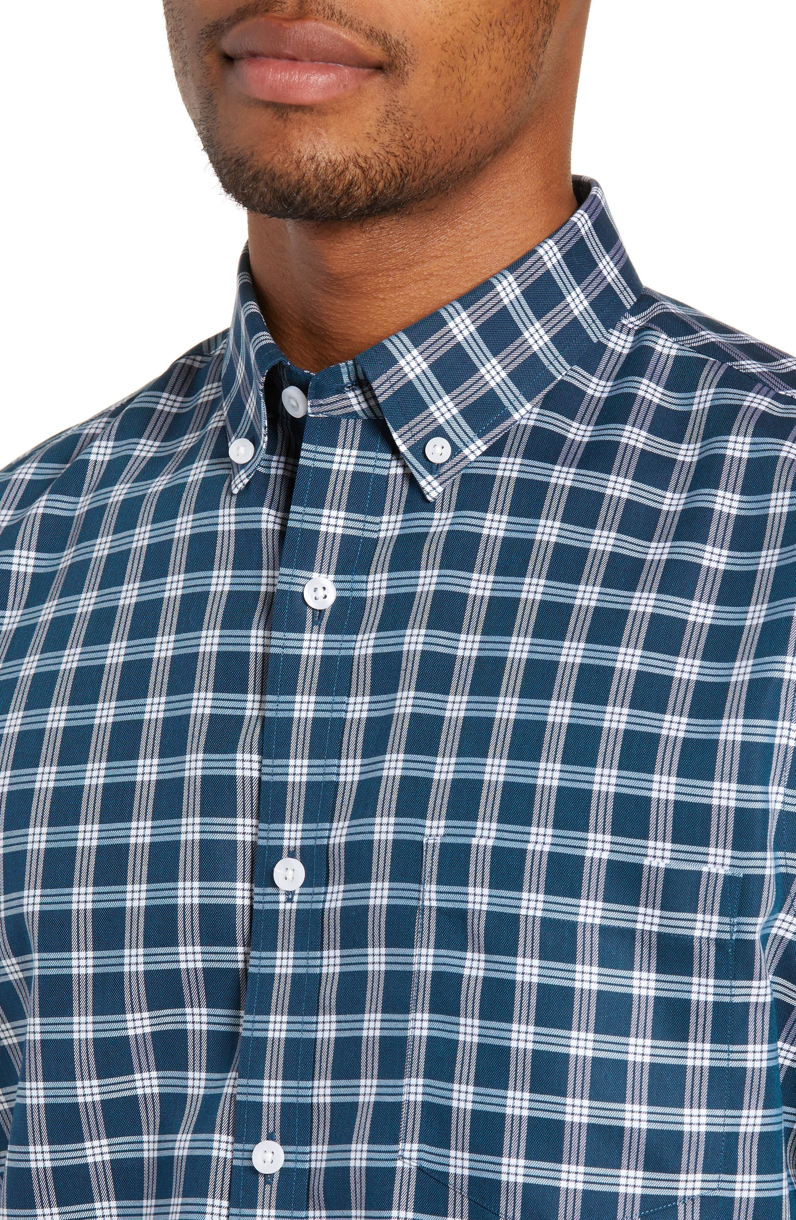 Smartcare<sup>™</sup> Slim Fit Check Sport Shirt,                             Alternate thumbnail 2, color,                             TEAL GLOSS WHITE CHECK
