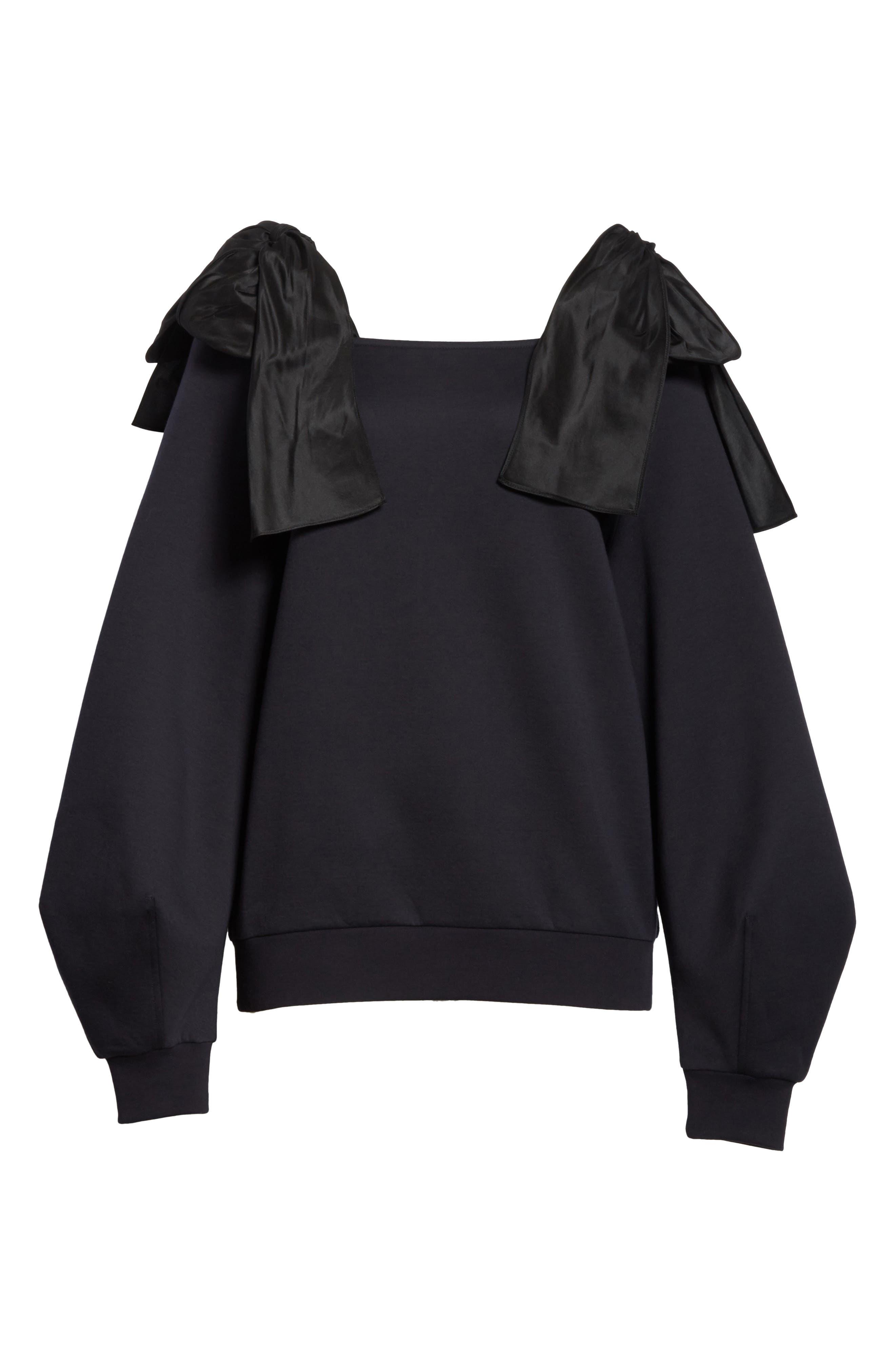 Bow Strap Cold Shoulder Sweatshirt,                             Alternate thumbnail 6, color,                             010