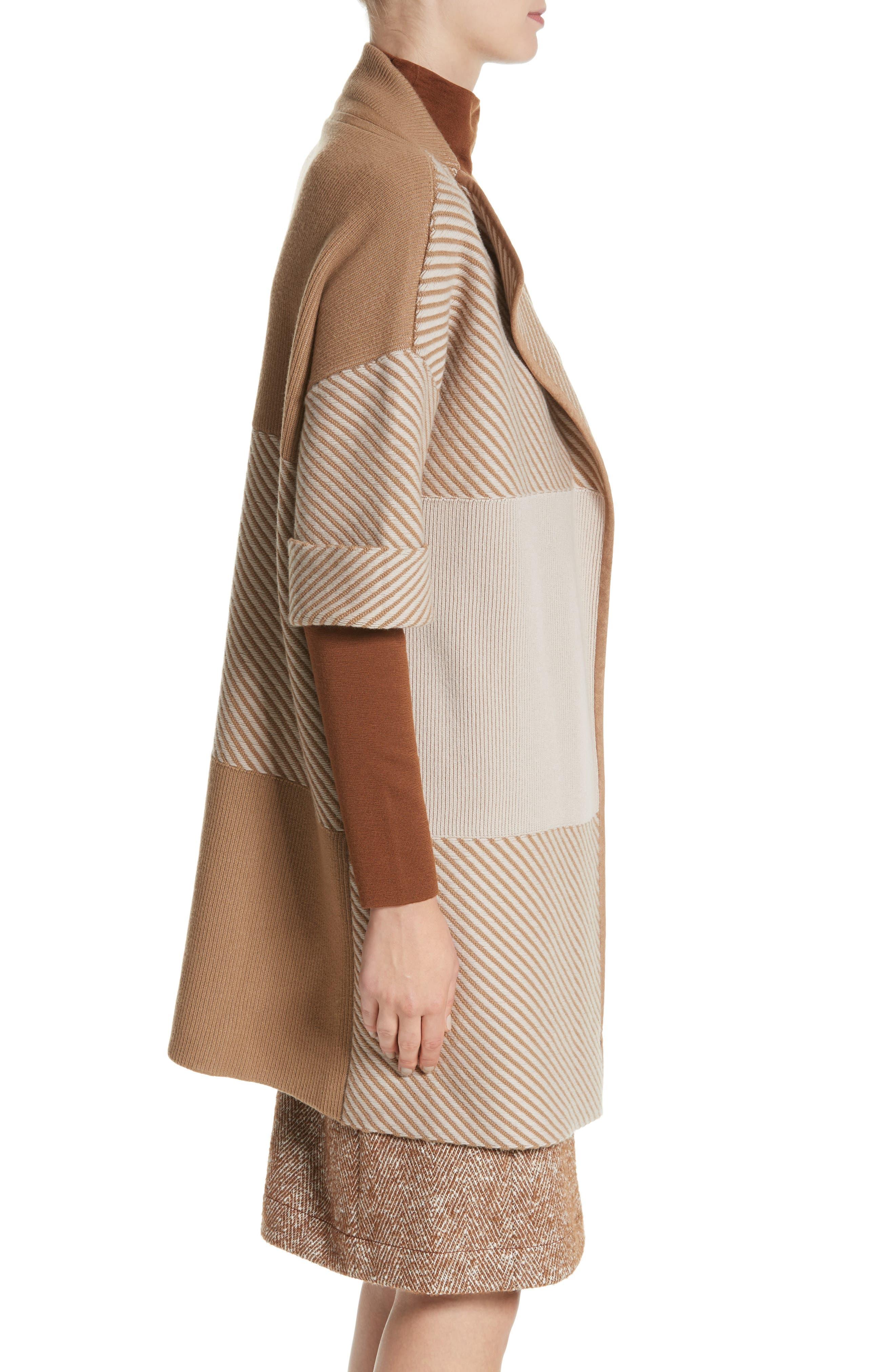 Flannel Bicolor Jacquard Coat,                             Alternate thumbnail 3, color,                             200