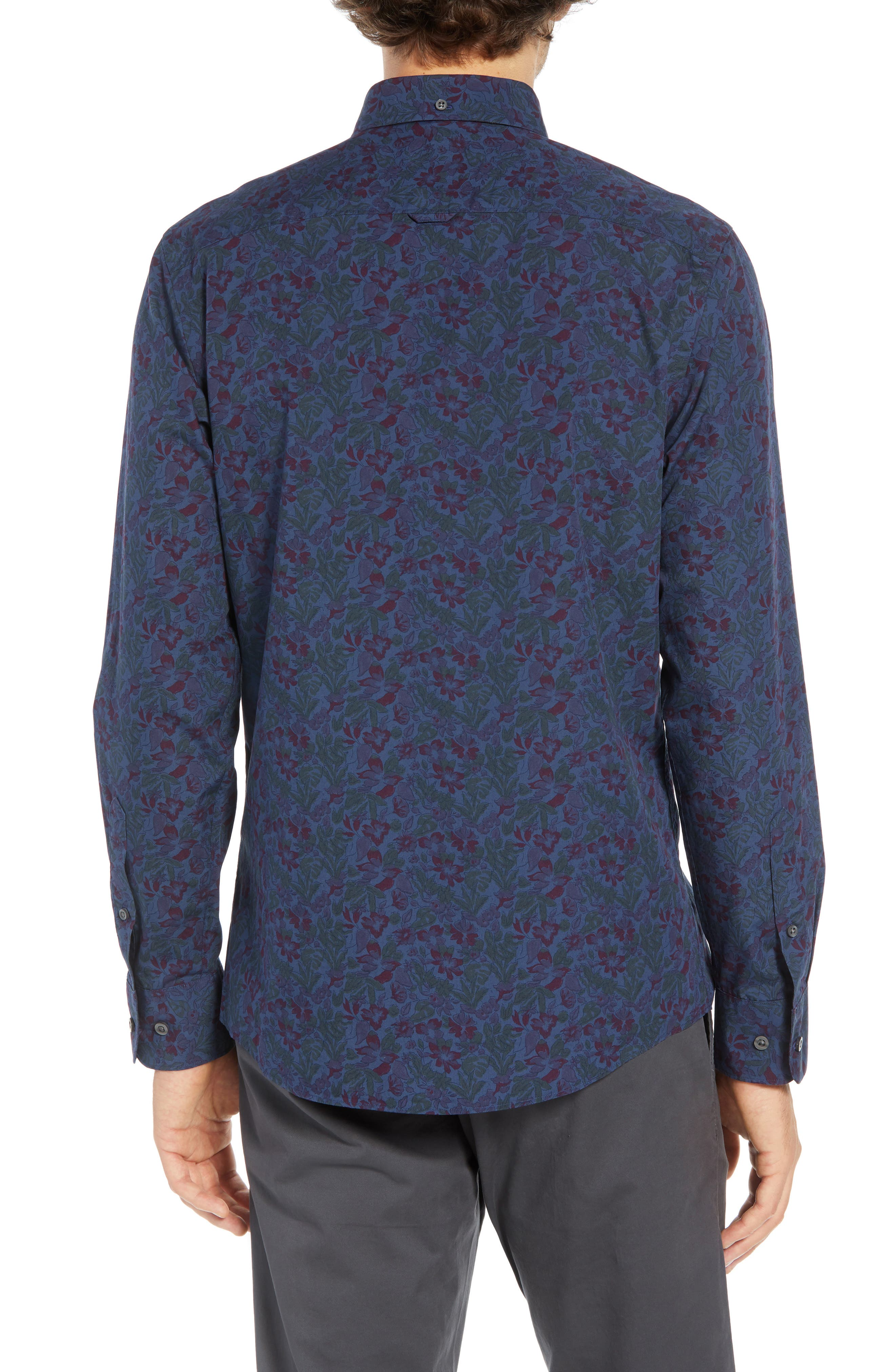 Trim Fit Floral Print Sport Shirt,                             Alternate thumbnail 2, color,                             NAVY TROPICAL CHAMBRAY PRINT