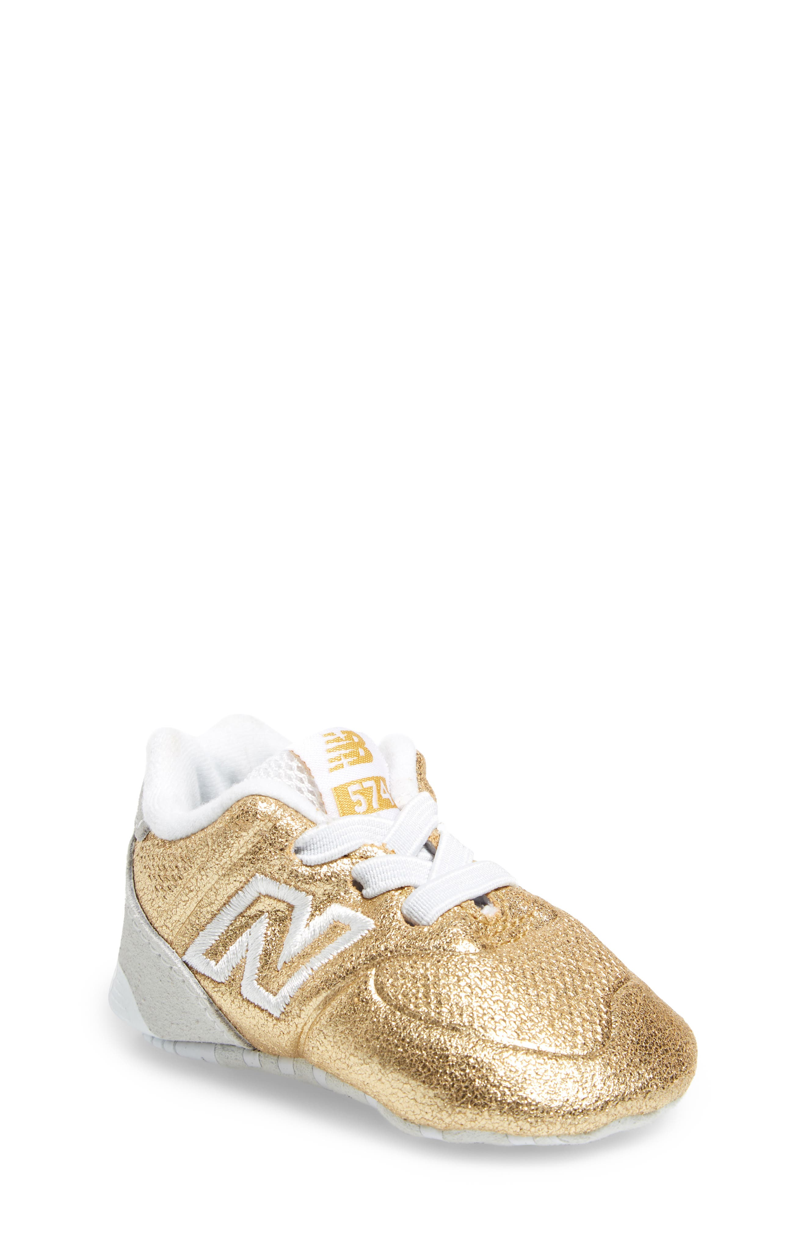 574 Metallic Crib Sneaker,                             Main thumbnail 2, color,
