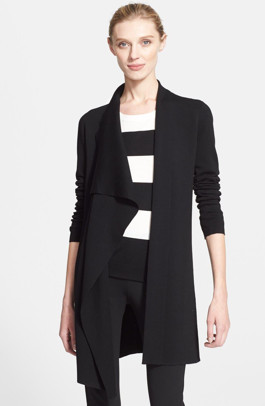 Draped Wool Knit Cardigan,                         Main,                         color, BLACK