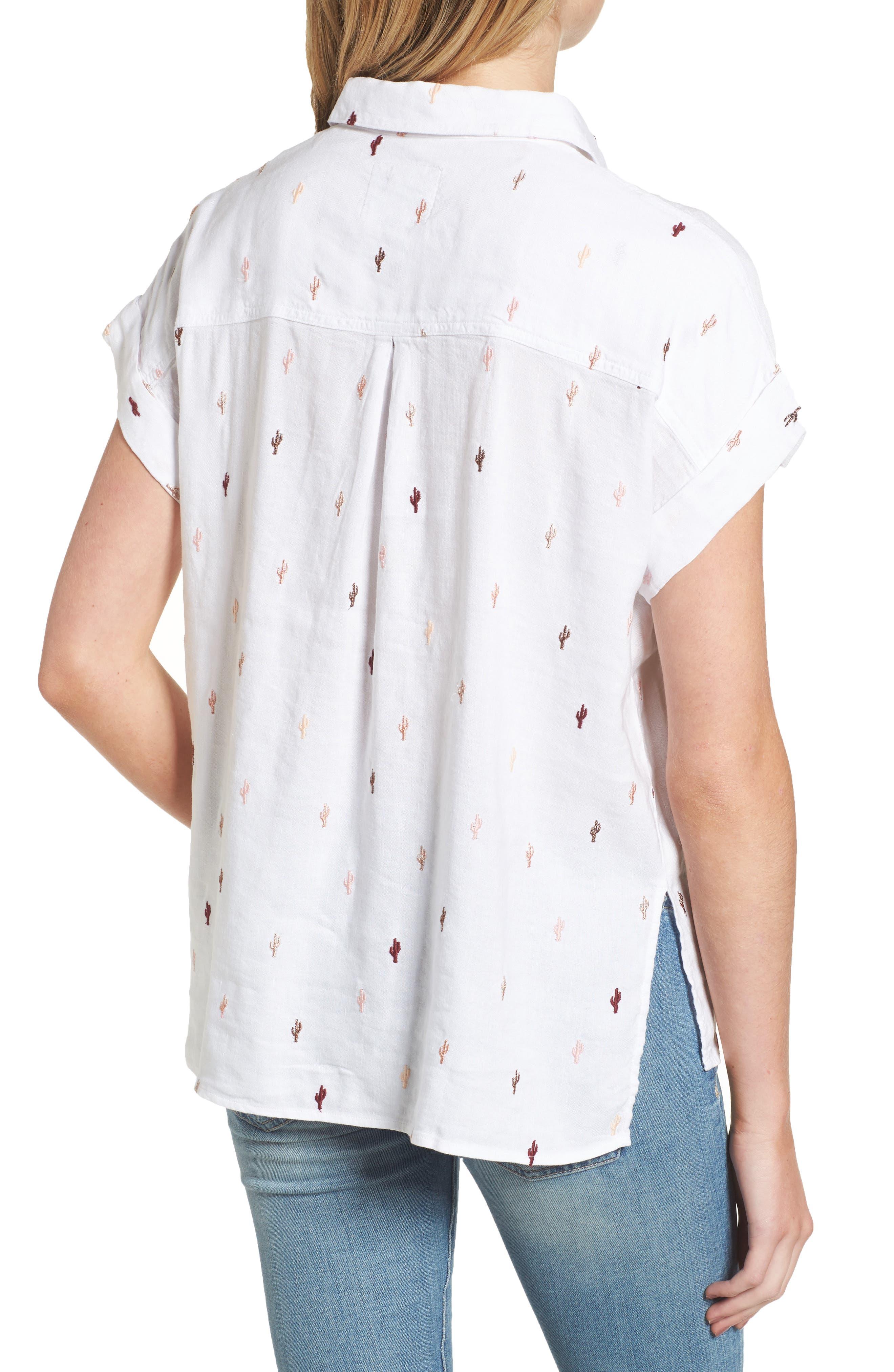 Whitney Cactus Print Shirt,                             Alternate thumbnail 2, color,                             METALLIC CACTUS