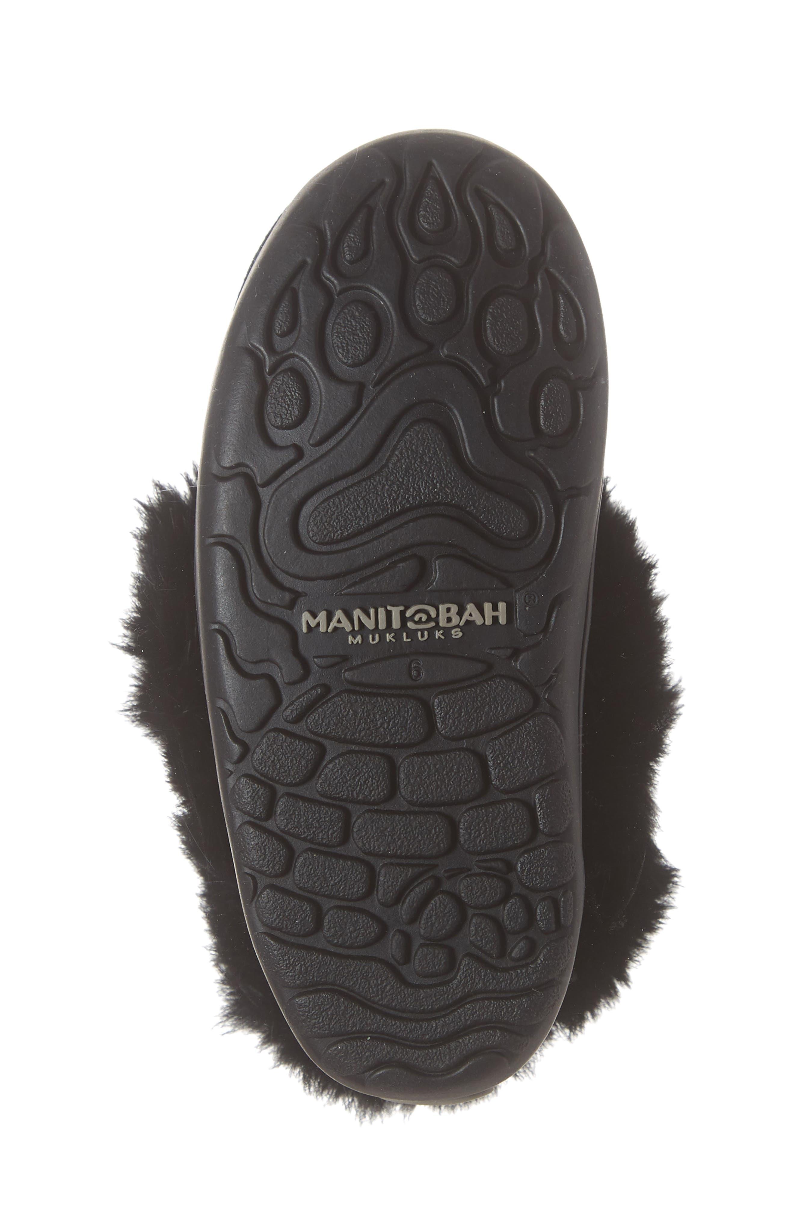 Snowy Owlet Genuine Fur Waterproof Boot,                             Alternate thumbnail 6, color,                             BLACK