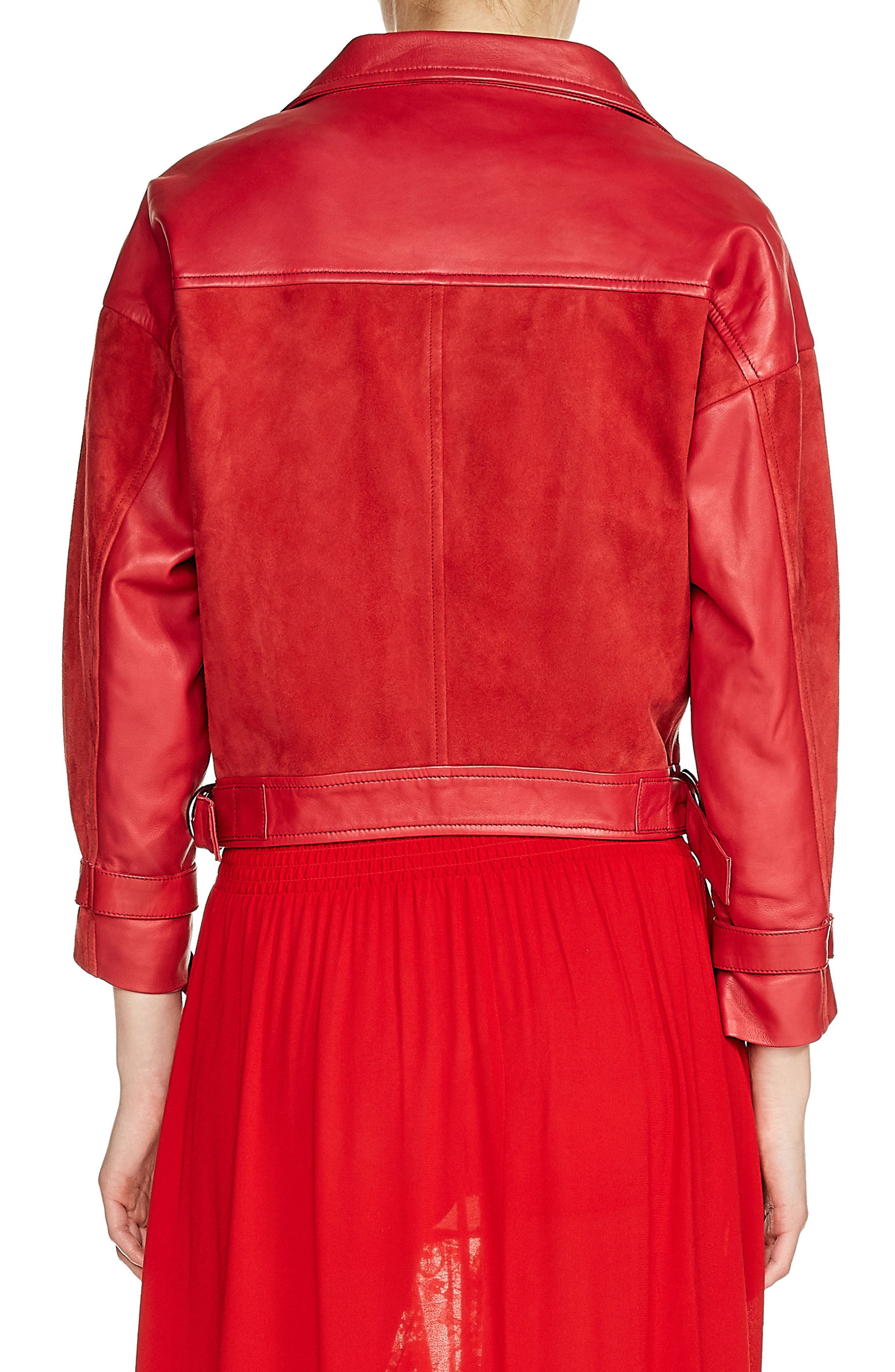 Belt Detail Leather & Suede Jacket,                             Alternate thumbnail 2, color,