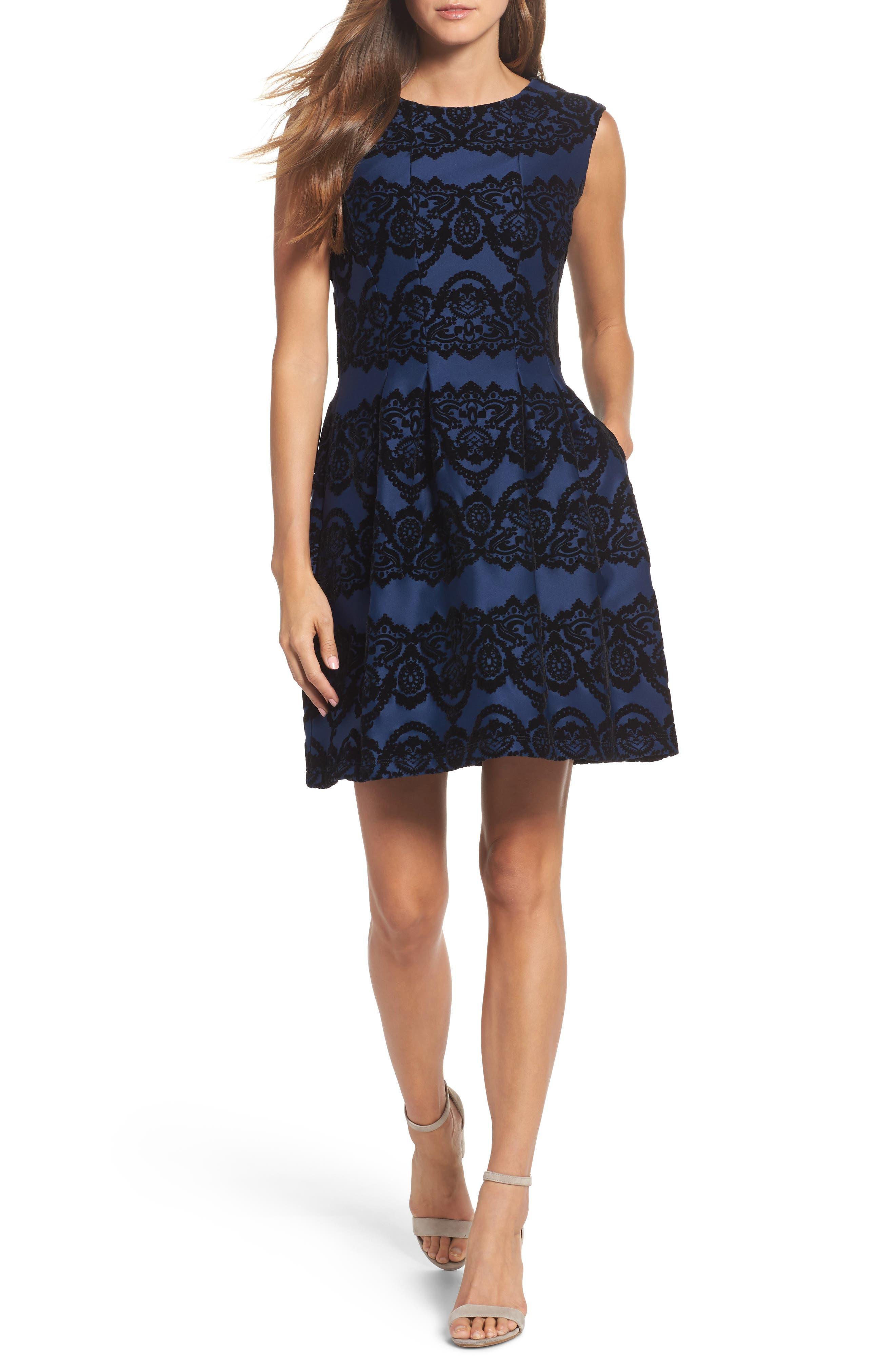 Scuba Fit & Flare Dress,                         Main,                         color, 410
