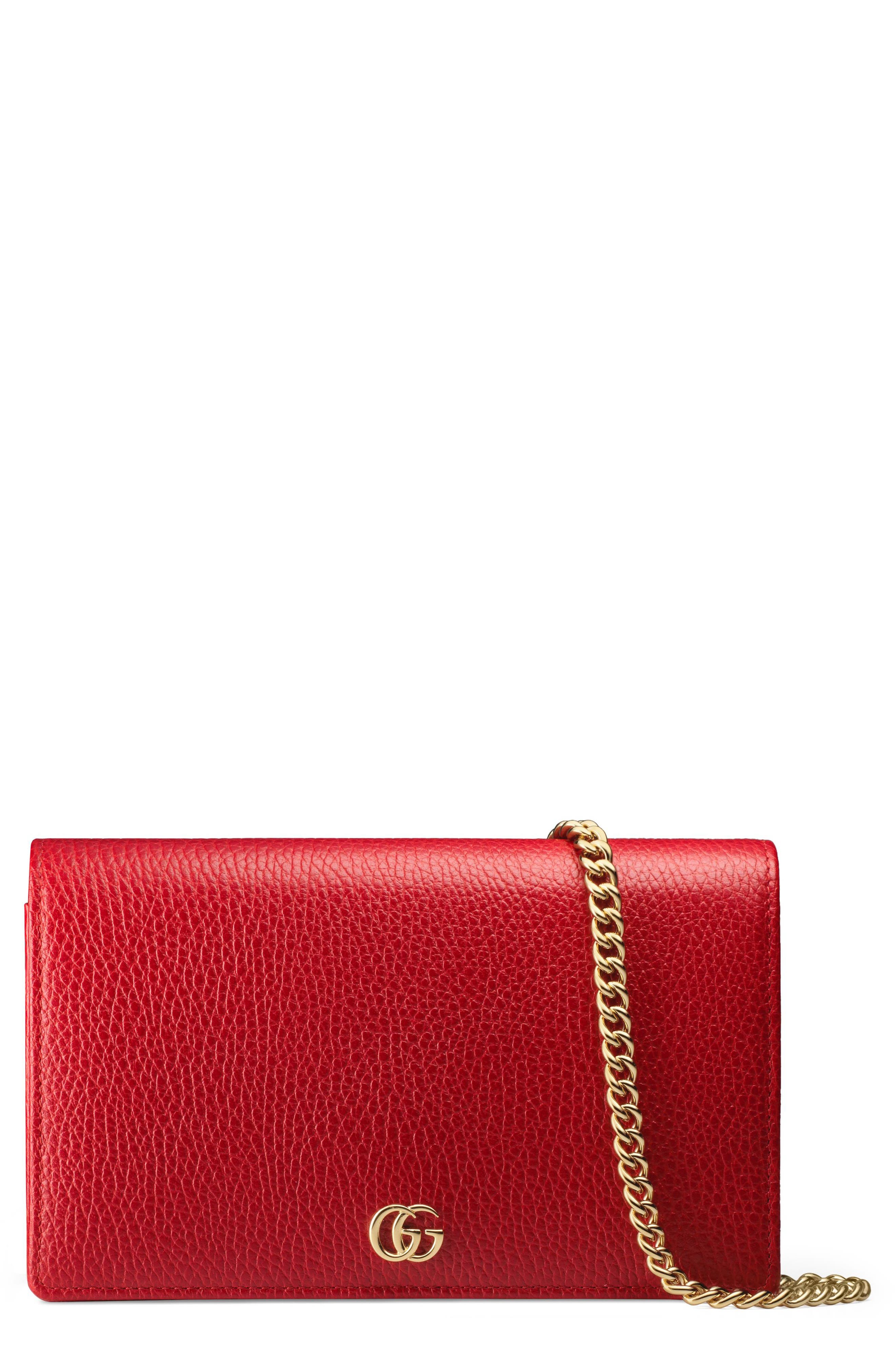 Petite Marmont Leather Wallet on a Chain,                             Main thumbnail 5, color,