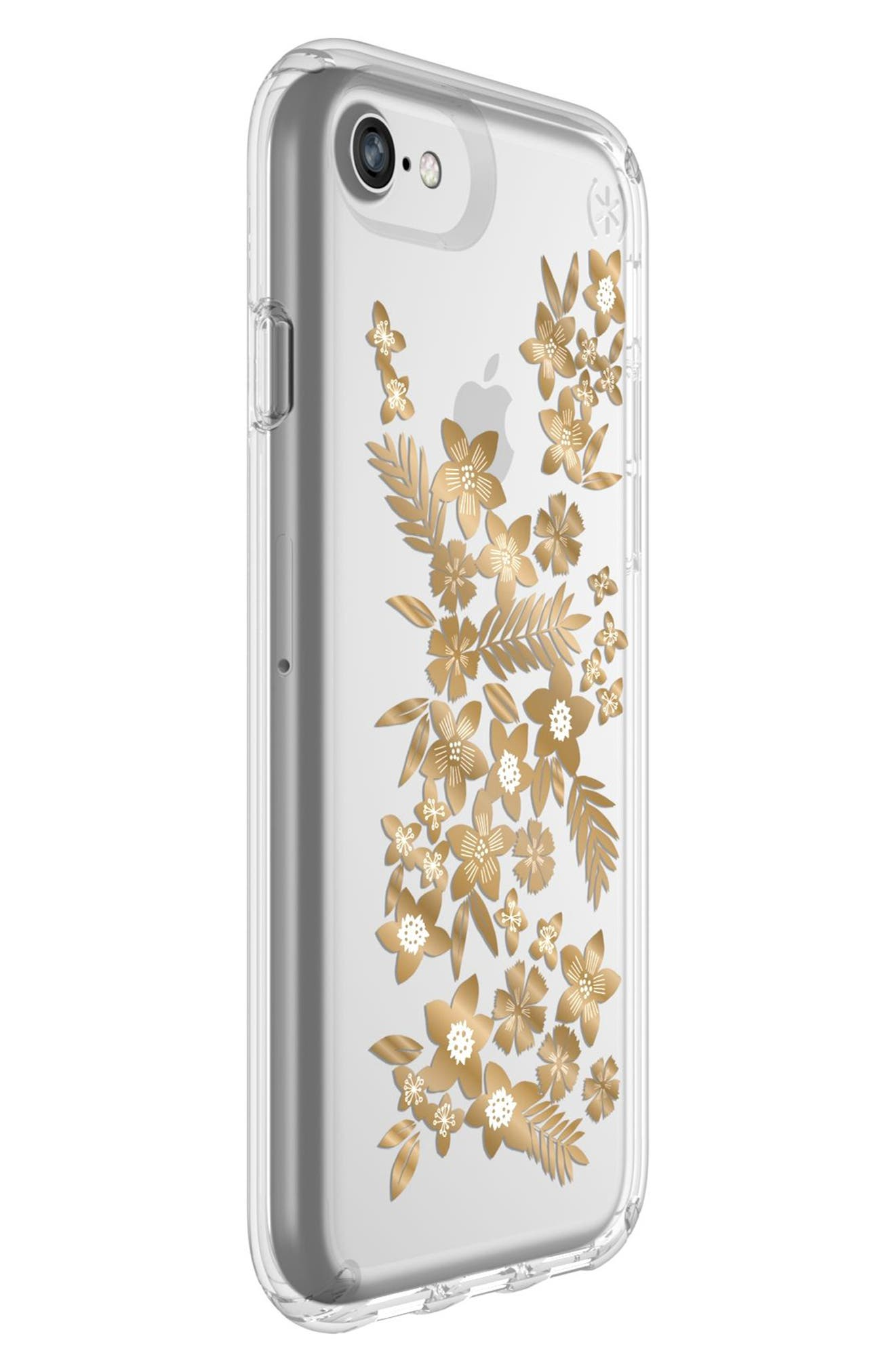 Transparent Shimmer Floral Metallic iPhone 6/6s/7/8 Case,                             Alternate thumbnail 2, color,                             040