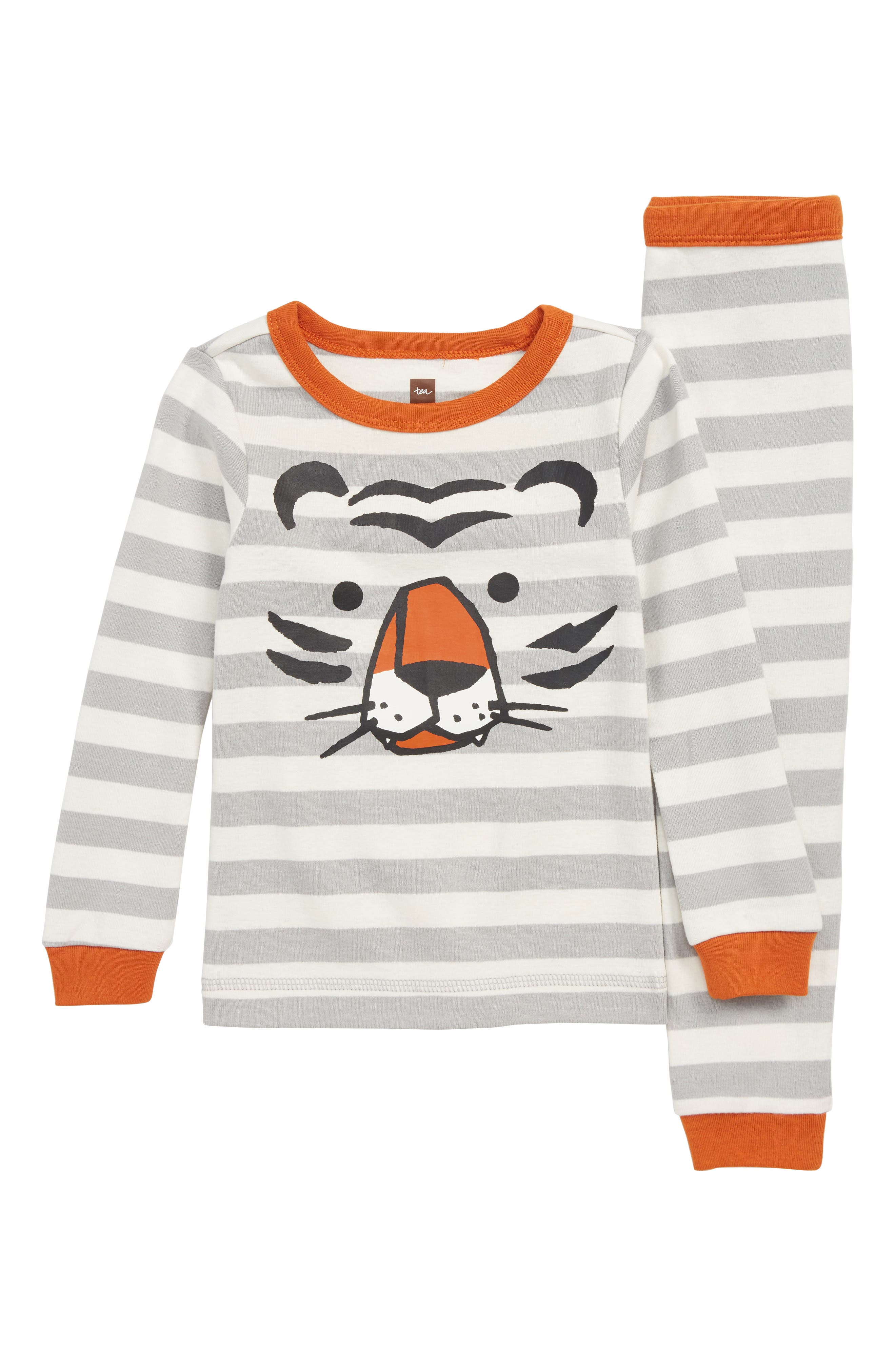 Toddler Boys Tea Collection Stripe Tiger Fitted TwoPiece Pajamas Size 3T  White