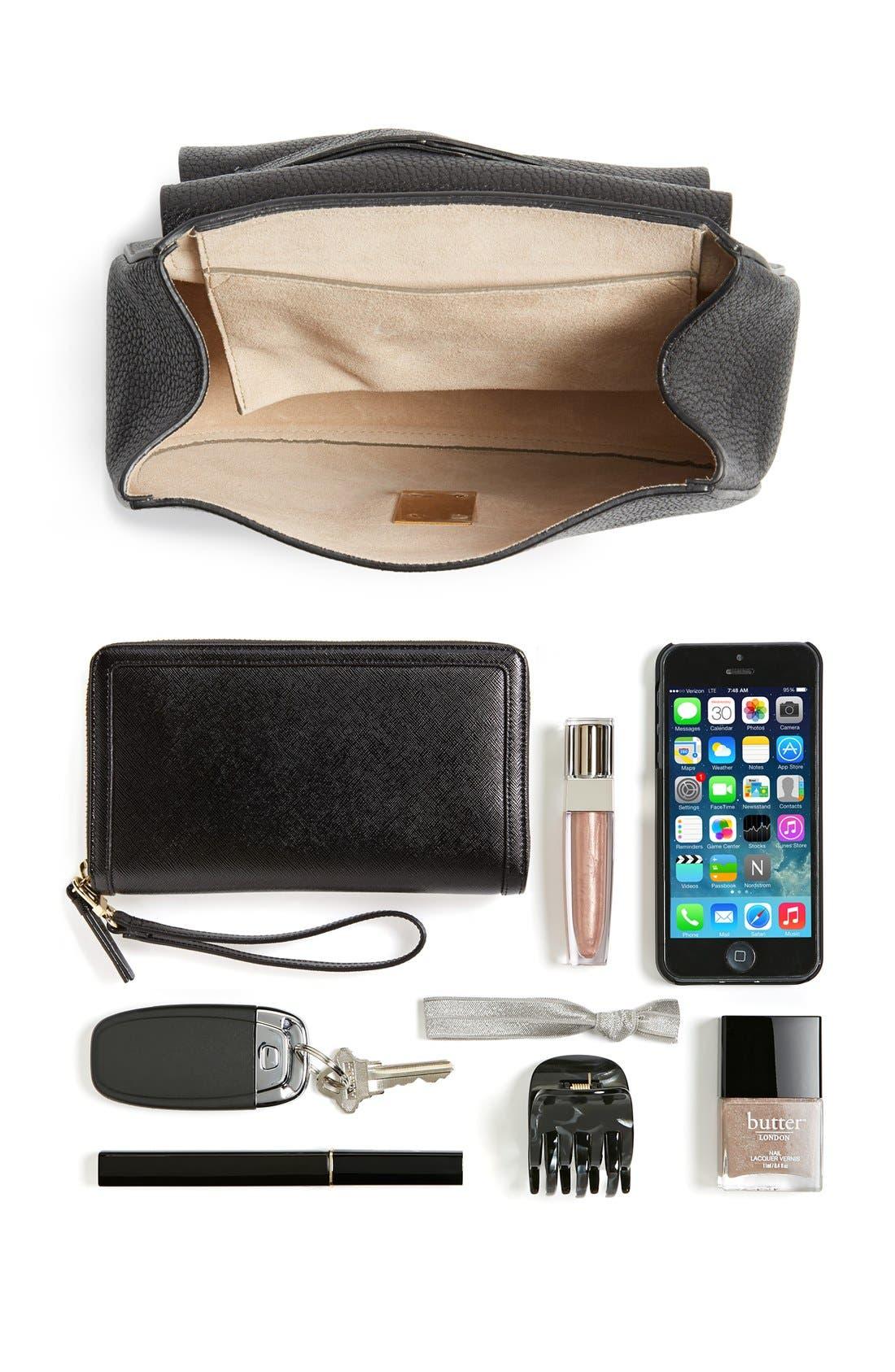 Drew Leather Shoulder Bag,                             Alternate thumbnail 6, color,                             BLACK GOLD HRDWRE