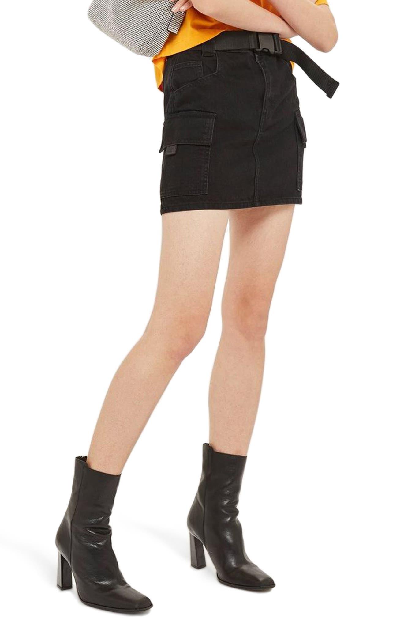Clip Belt Skirt,                         Main,                         color, BLACK