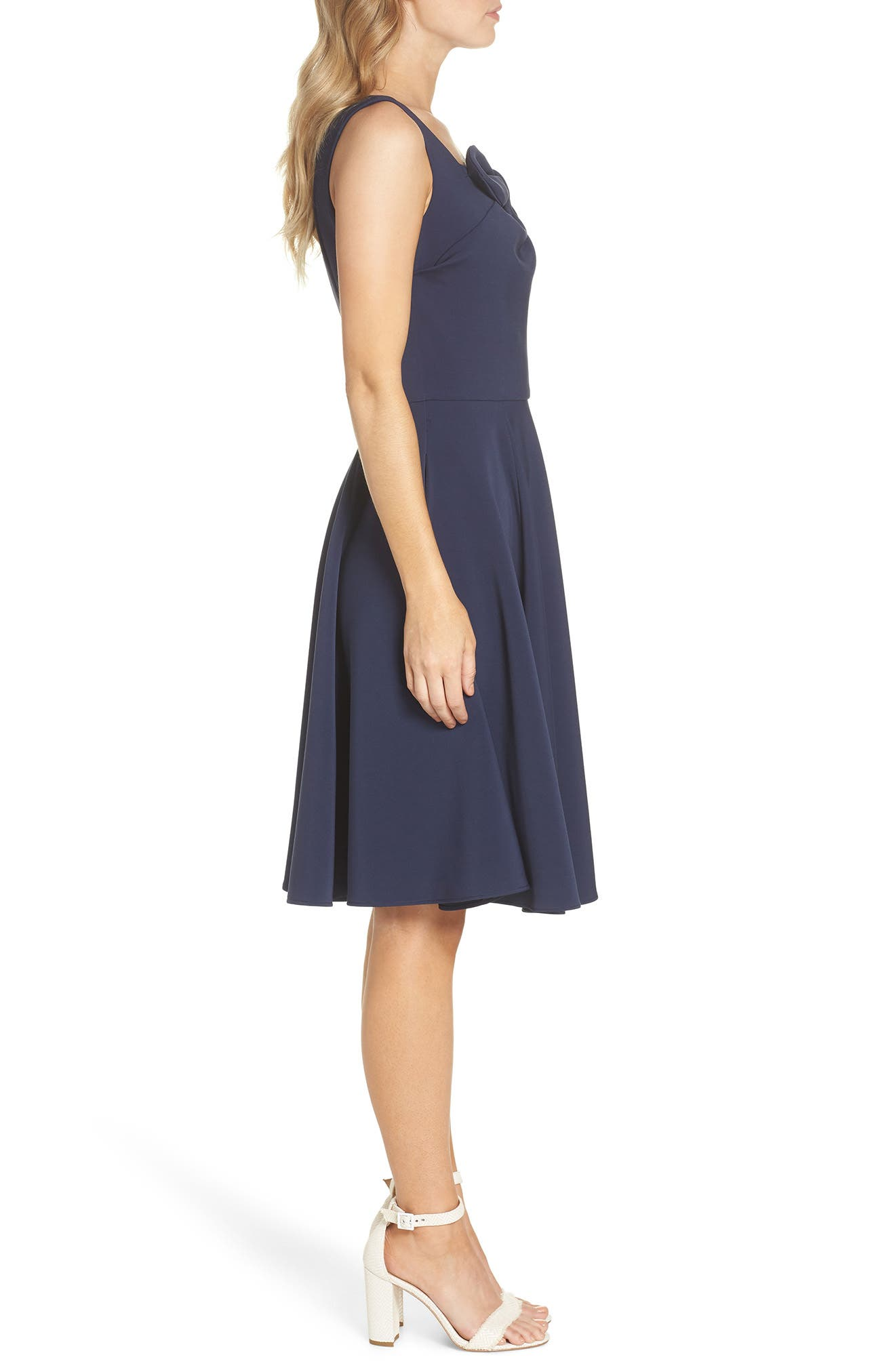 Zoe Bow Neckline Fit & Flare Dress,                             Alternate thumbnail 3, color,                             MIDNIGHT BLUE