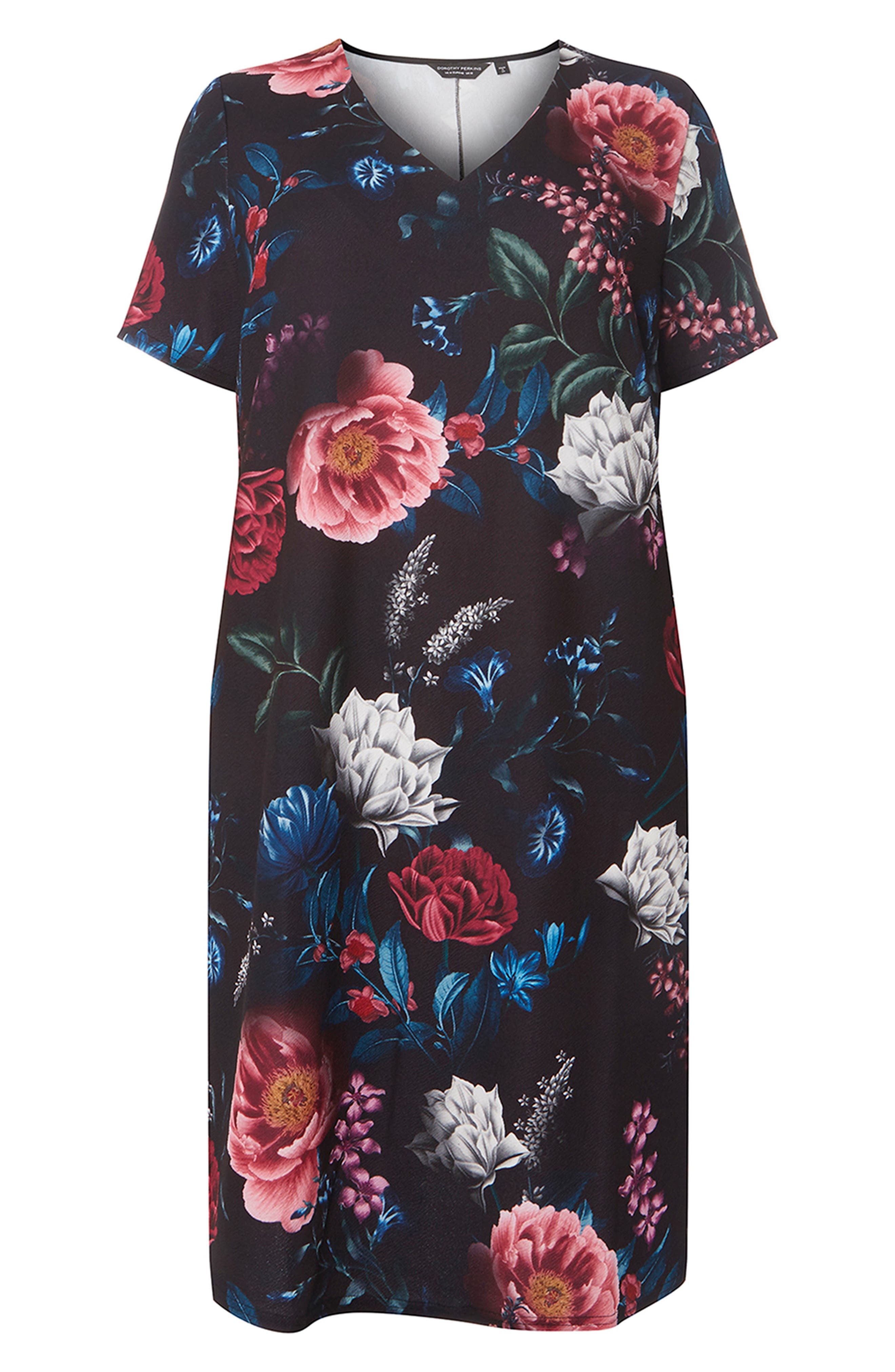 Floral Print Shift Dress,                             Alternate thumbnail 4, color,                             001