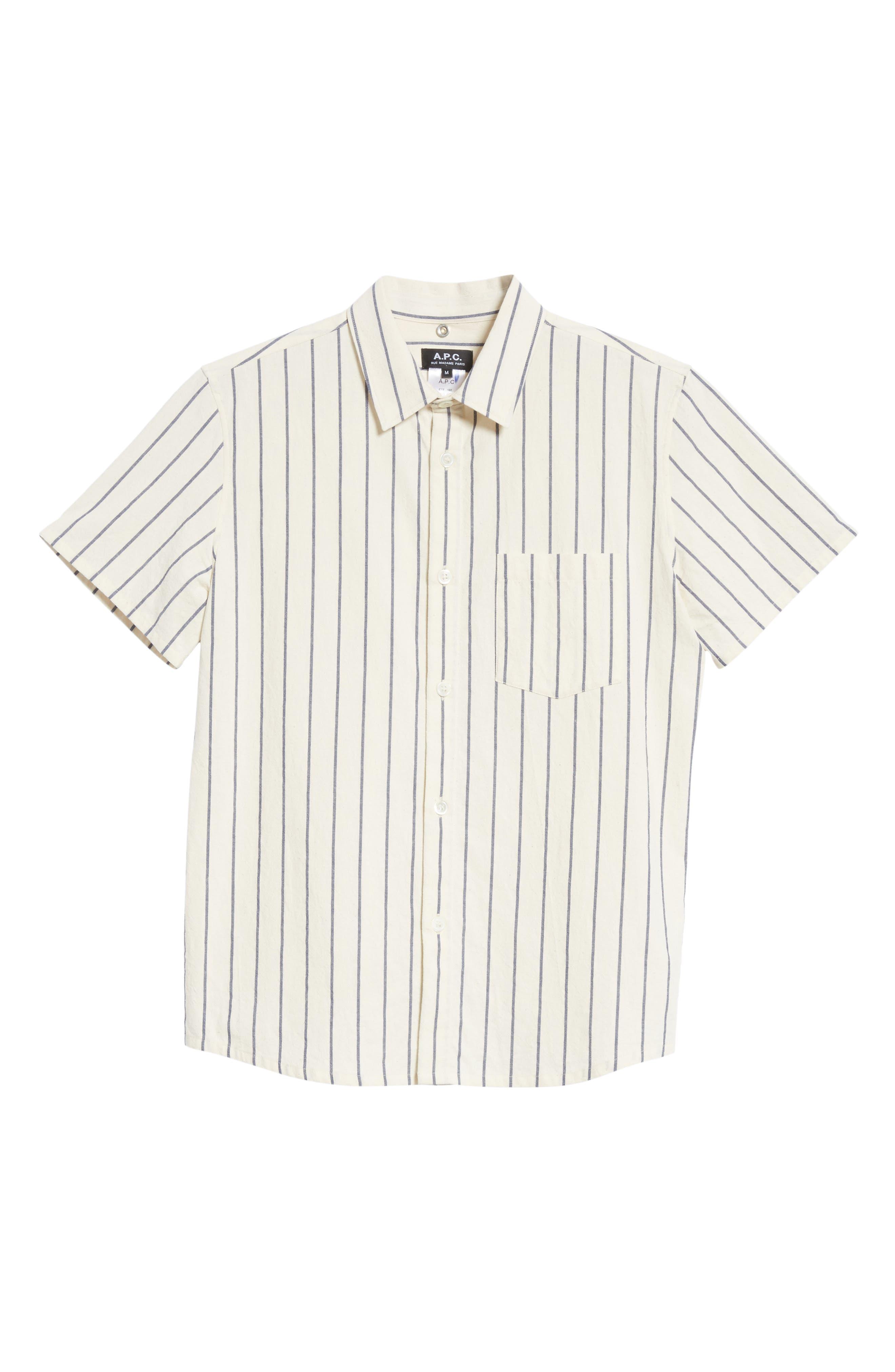 Bryan Stripe Woven Shirt,                             Alternate thumbnail 6, color,                             ECRU