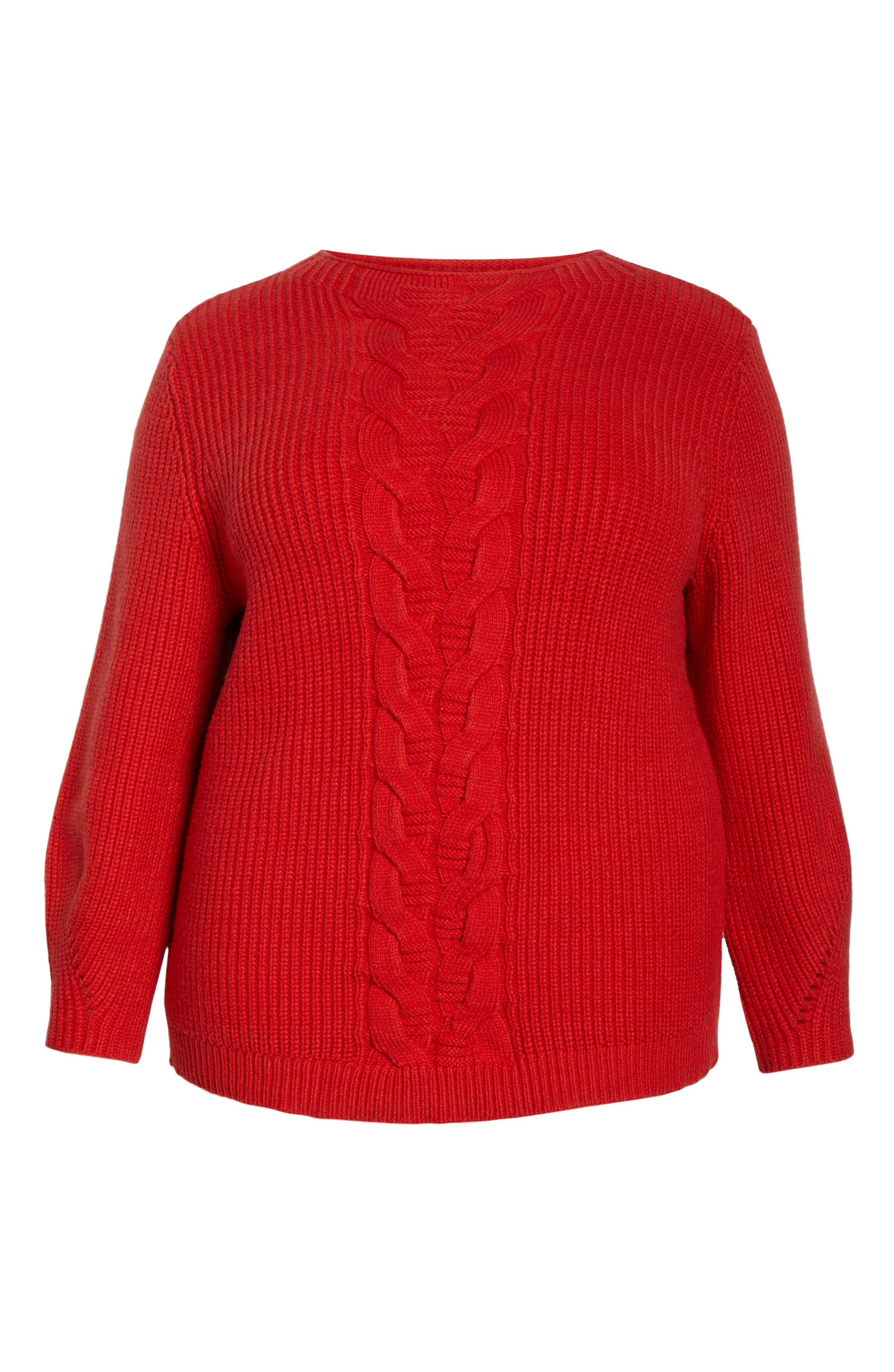 Cable Knit Sweater,                             Alternate thumbnail 6, color,                             RED BLOOM