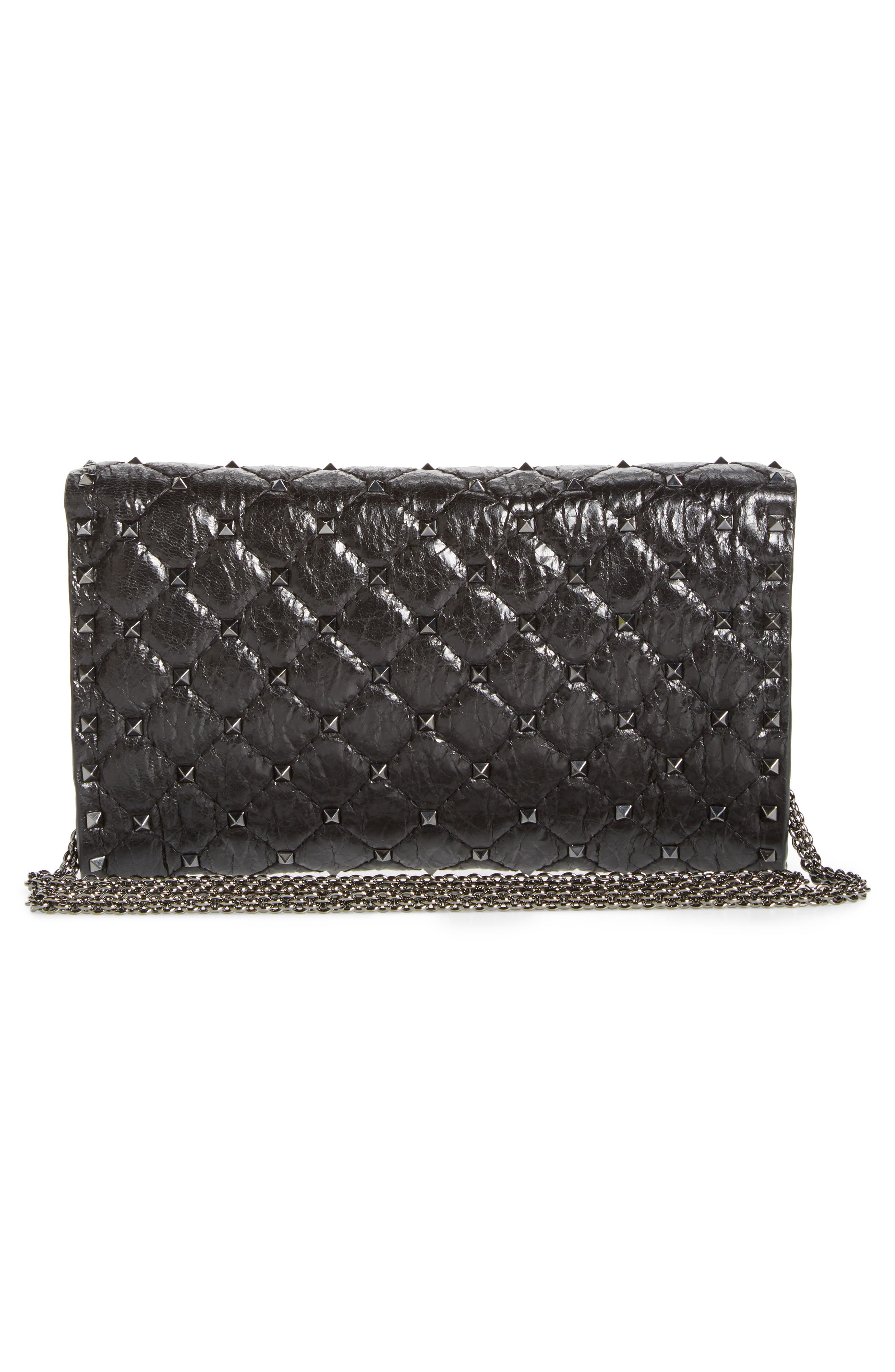 Matelassé Rockstud Spike Leather Wallet on a Chain,                             Alternate thumbnail 3, color,                             001