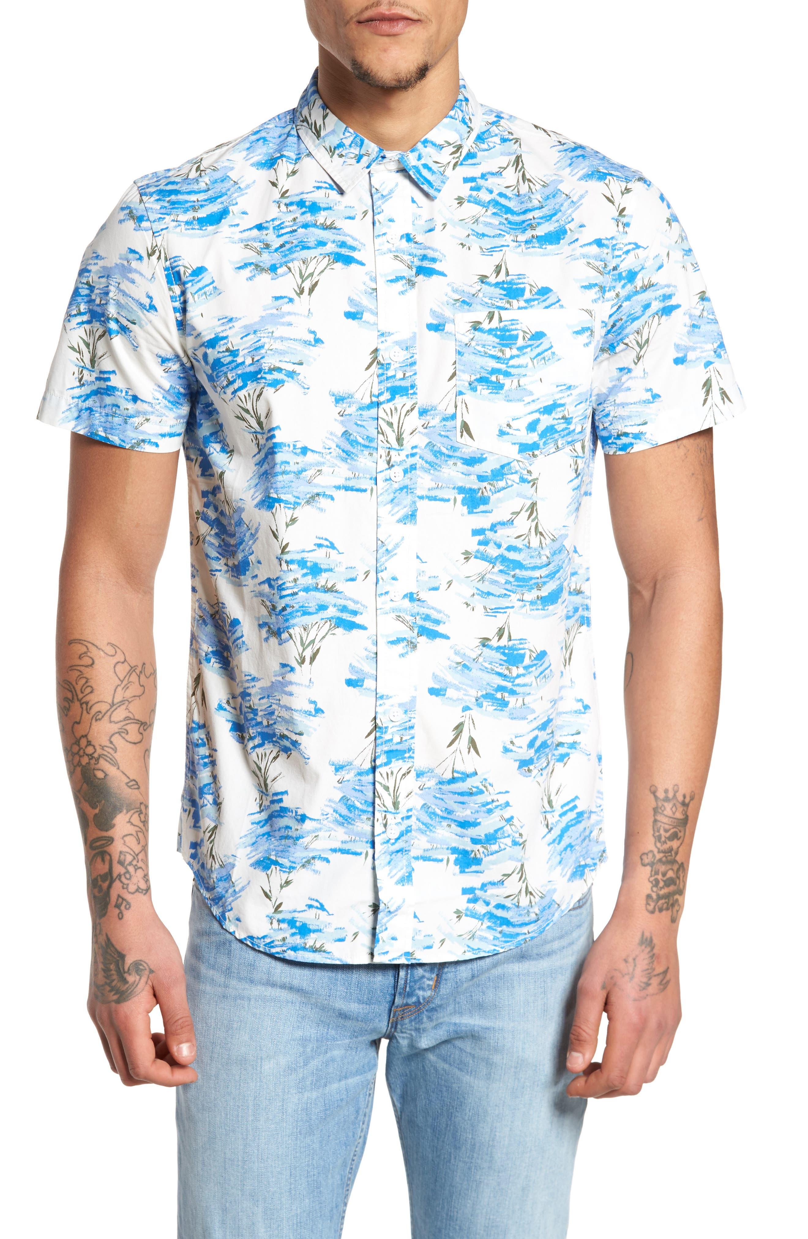 Short Sleeve Print Poplin Shirt,                             Main thumbnail 5, color,