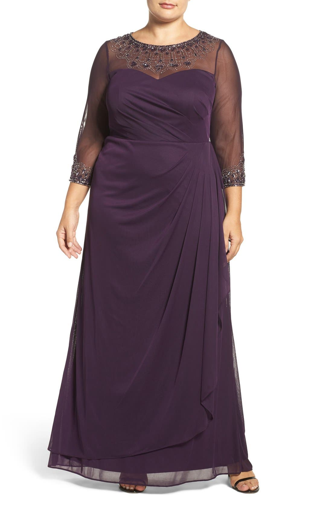 Beaded Illusion Neck A-Line Gown,                             Main thumbnail 4, color,