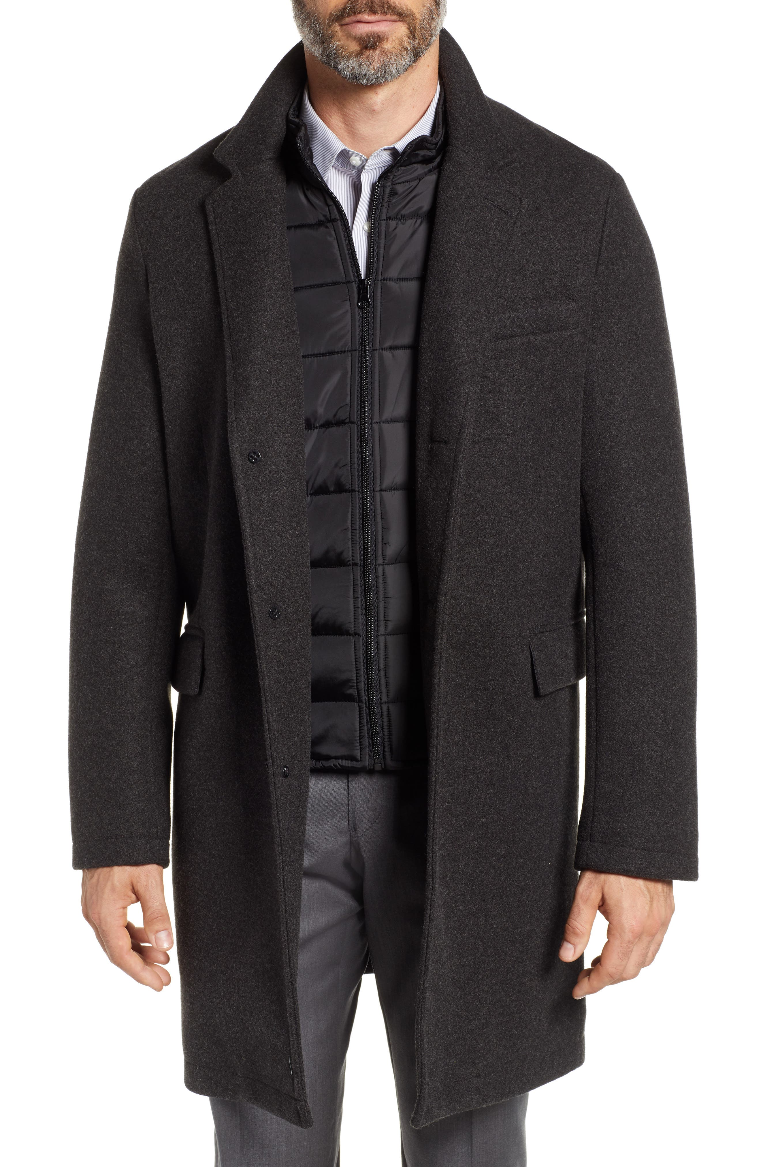 Cunningham Quilted Bib Inset Topcoat,                             Main thumbnail 1, color,                             CHARCOAL