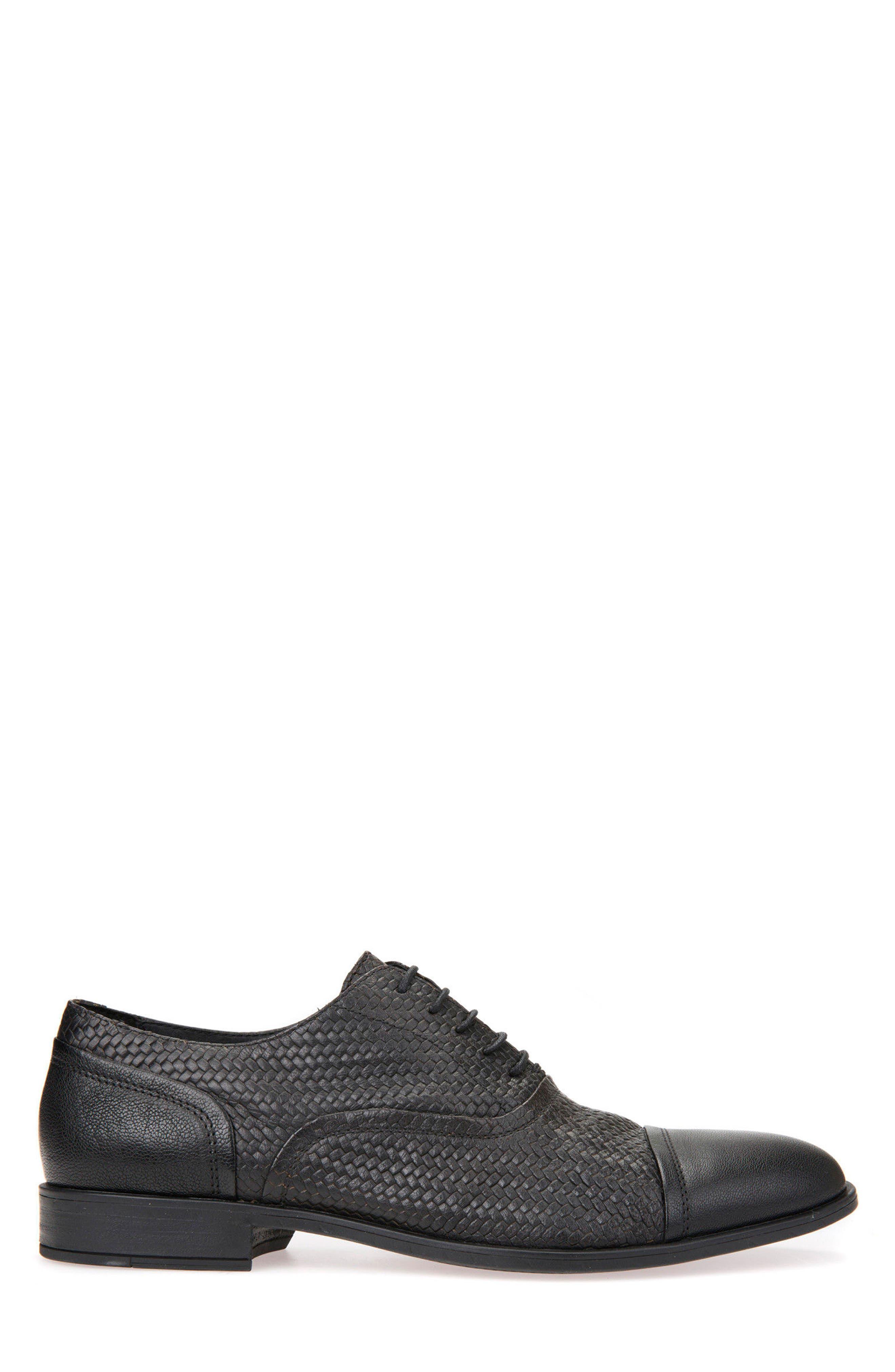 Bryceton Textured Cap Toe Oxford,                             Alternate thumbnail 3, color,                             BLACK LEATHER