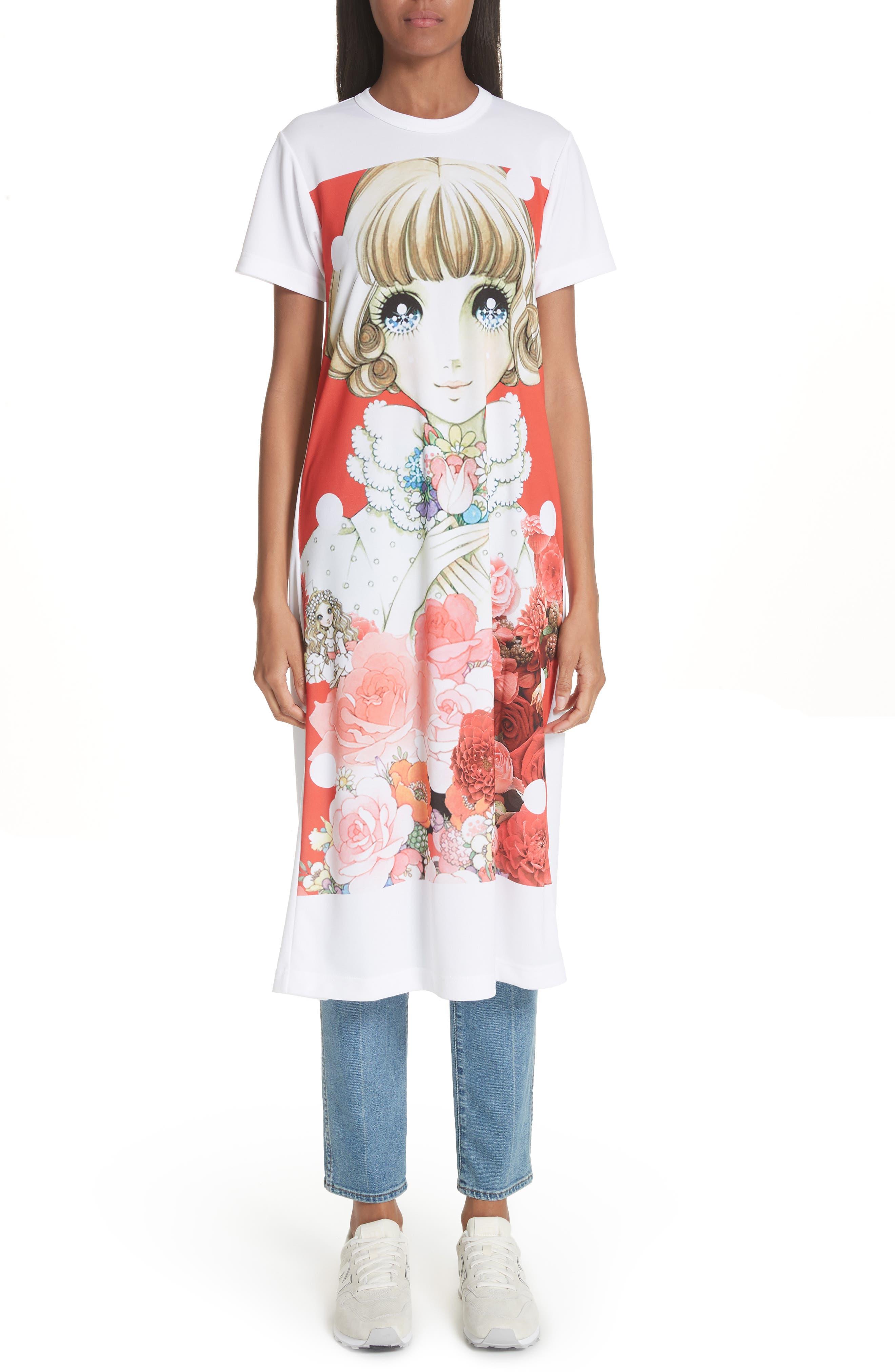 Manga Print T-Shirt Dress,                         Main,                         color, 100