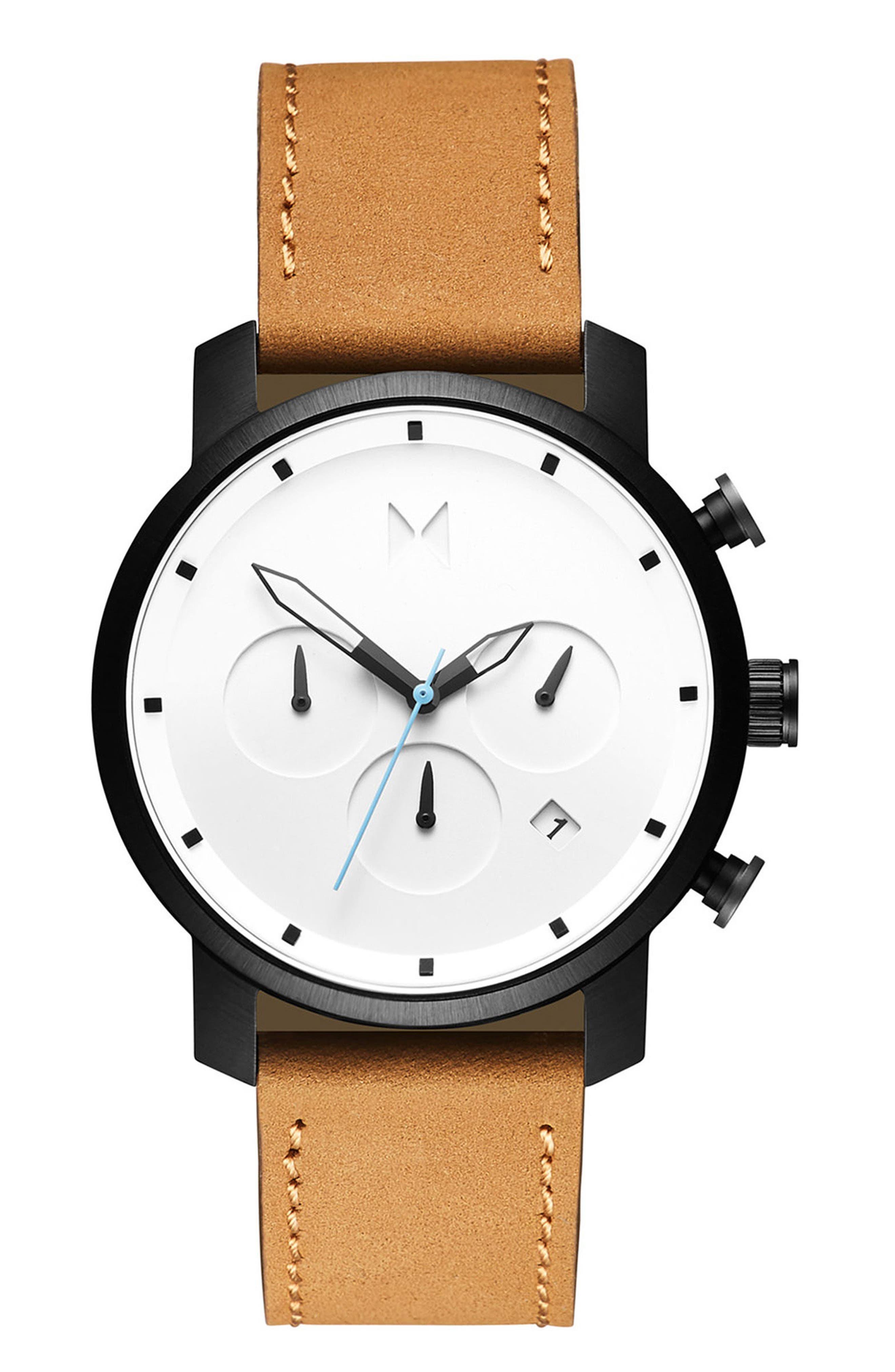 Chrono Chronograph Leather Strap Watch, 40mm,                             Main thumbnail 1, color,                             WHITE/ TAN